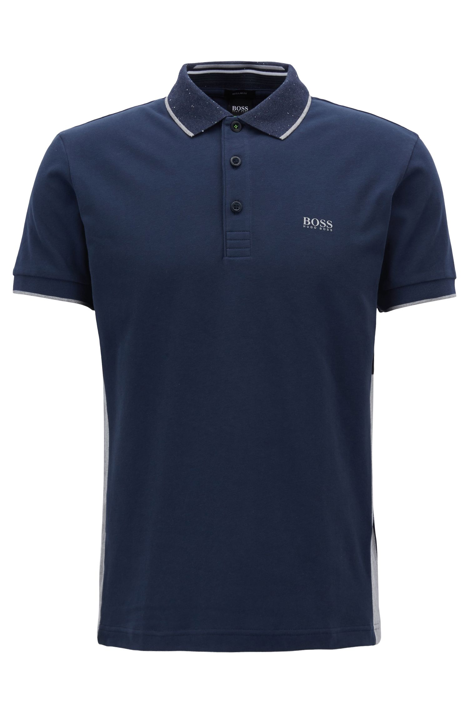 Regular-fit polo shirt in suede-effect cotton jersey, Dark Blue