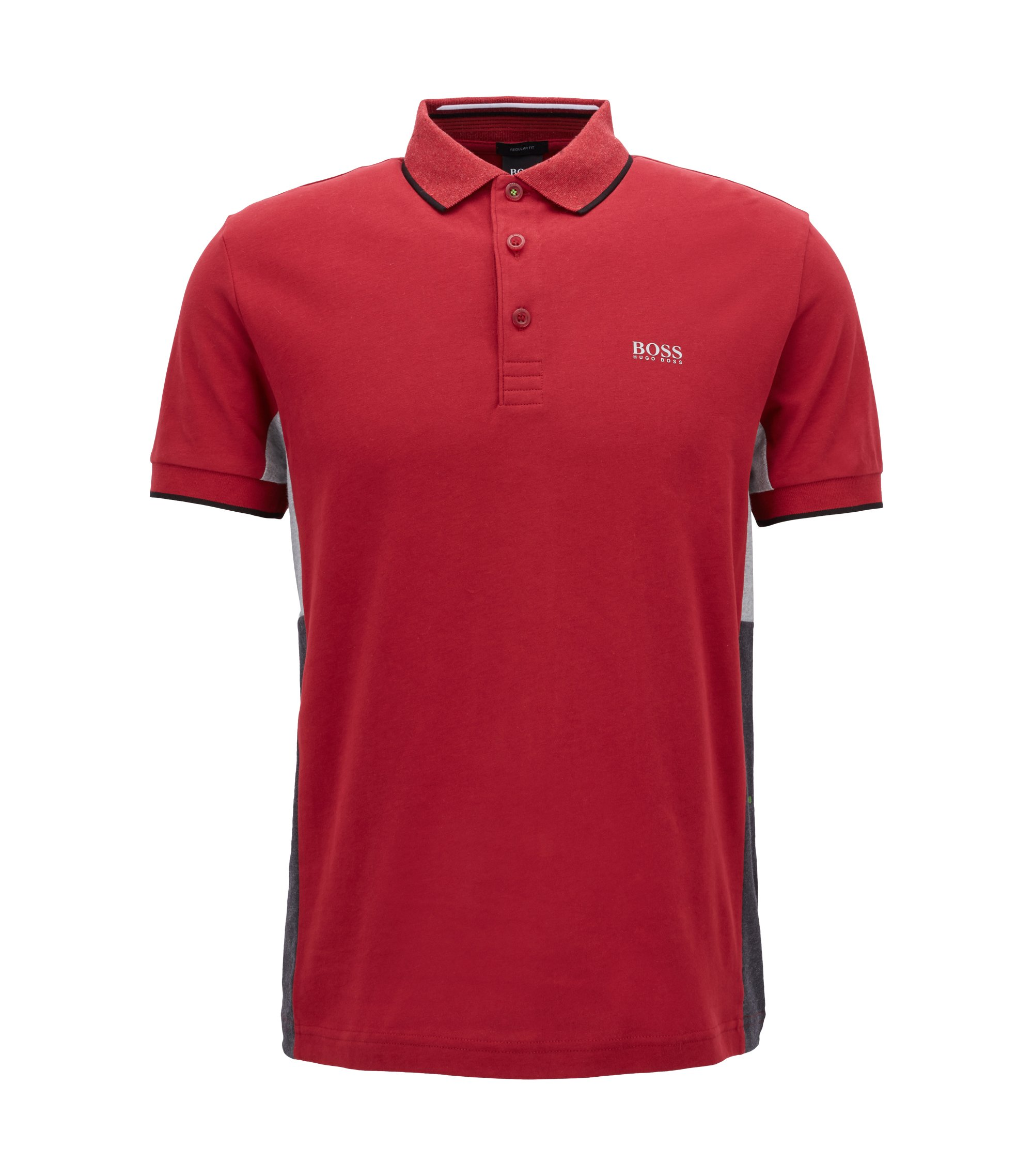 Regular-fit polo shirt in suede-effect cotton jersey, Dark Red