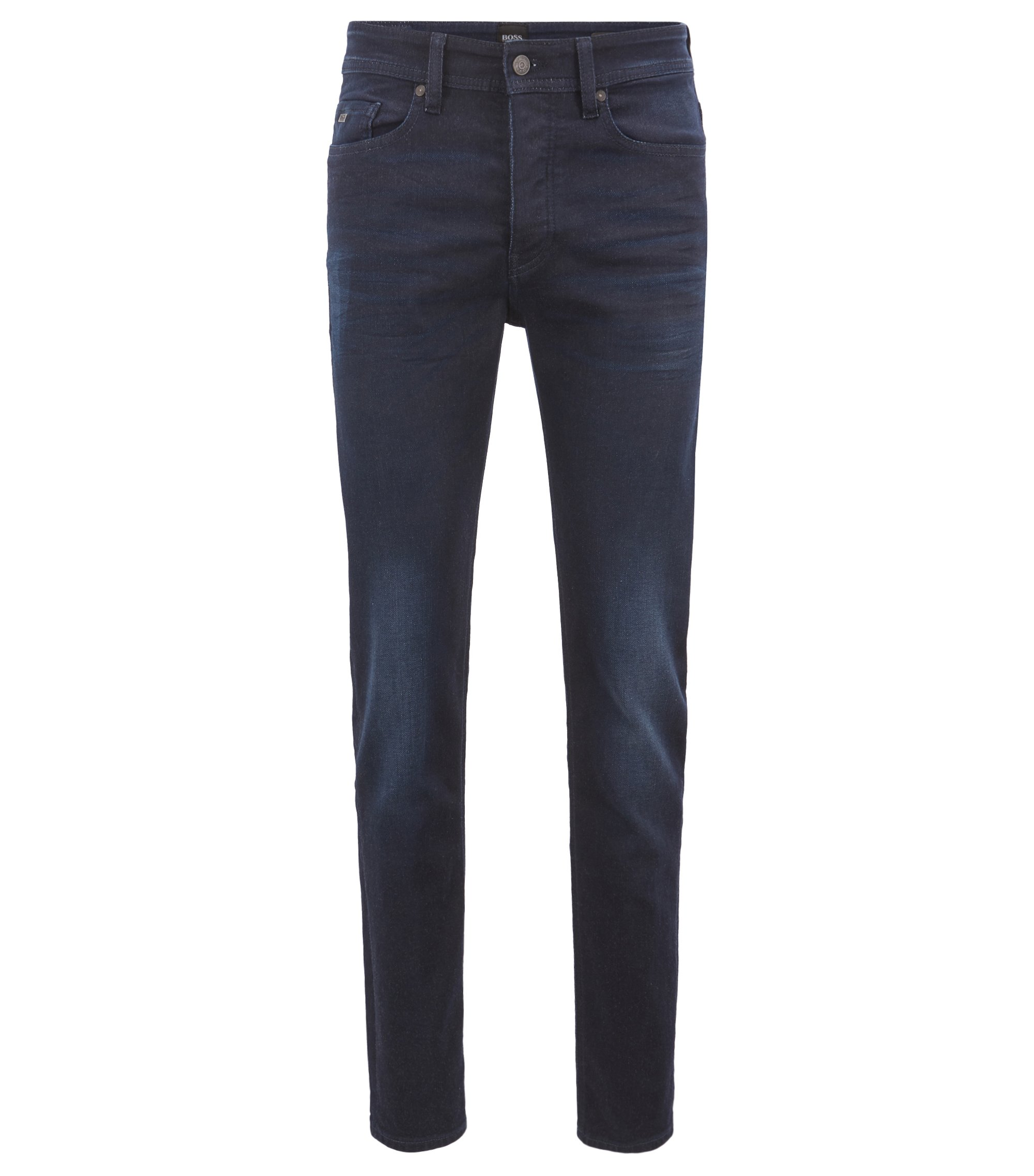 Tapered-fit jeans in fine-yarn knitted stretch denim, Dark Blue