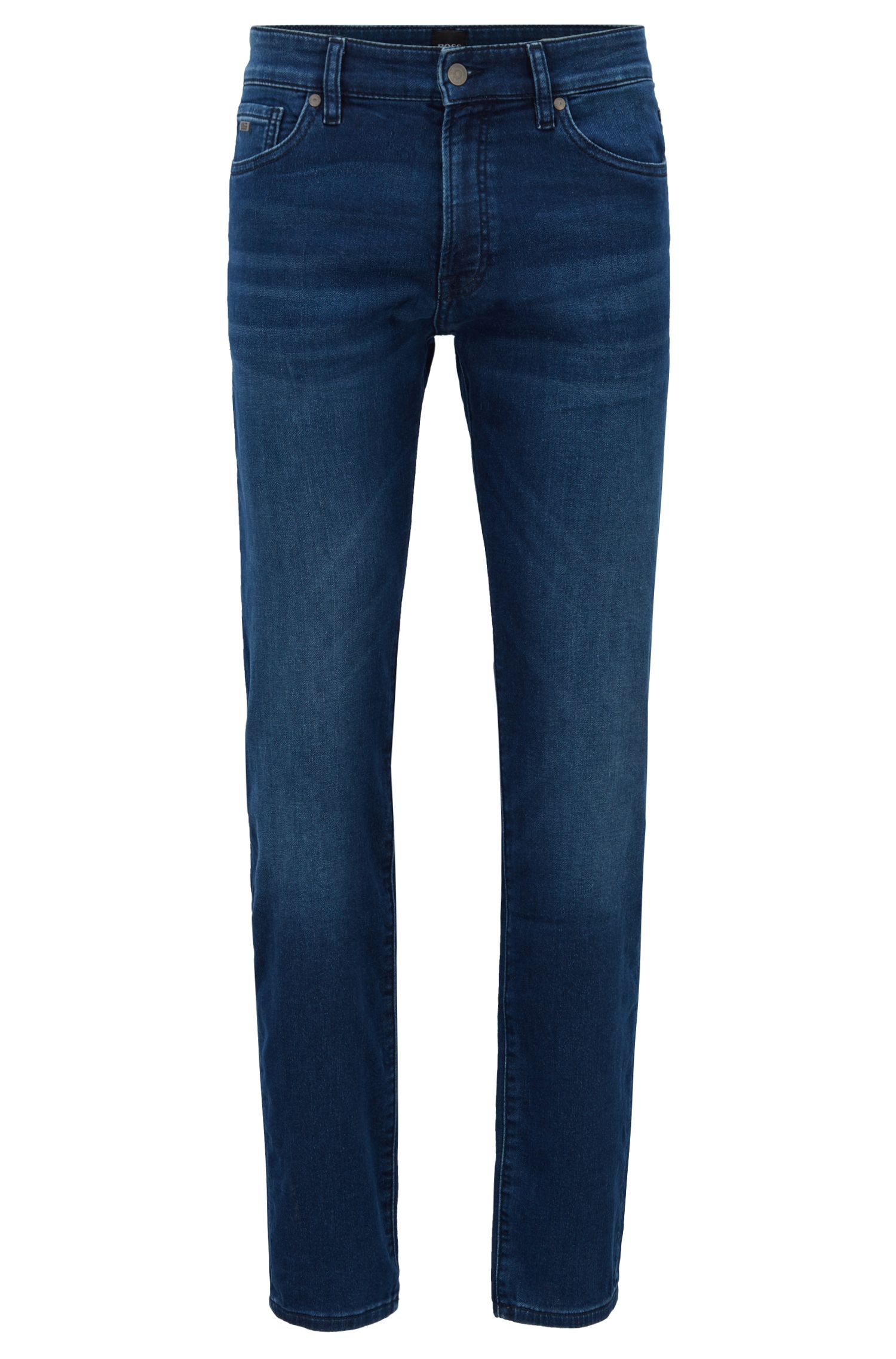Regular-fit jeans in knitted stretch denim , Blue