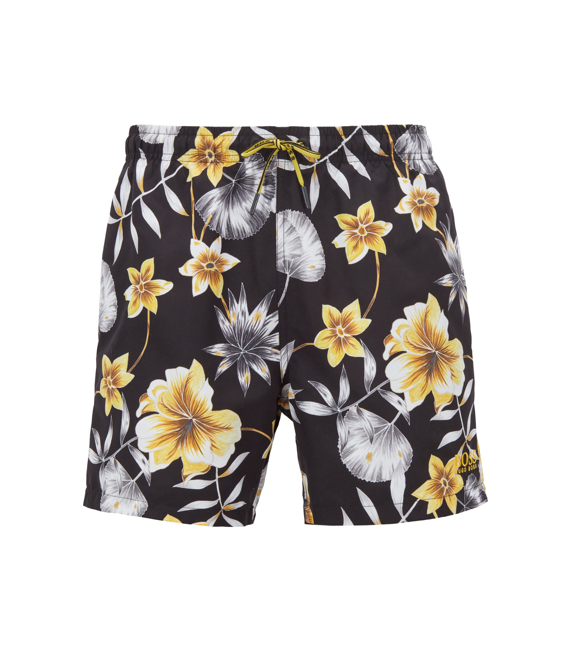 Floral-print swim shorts in quick-drying technical fabric, Open Grey