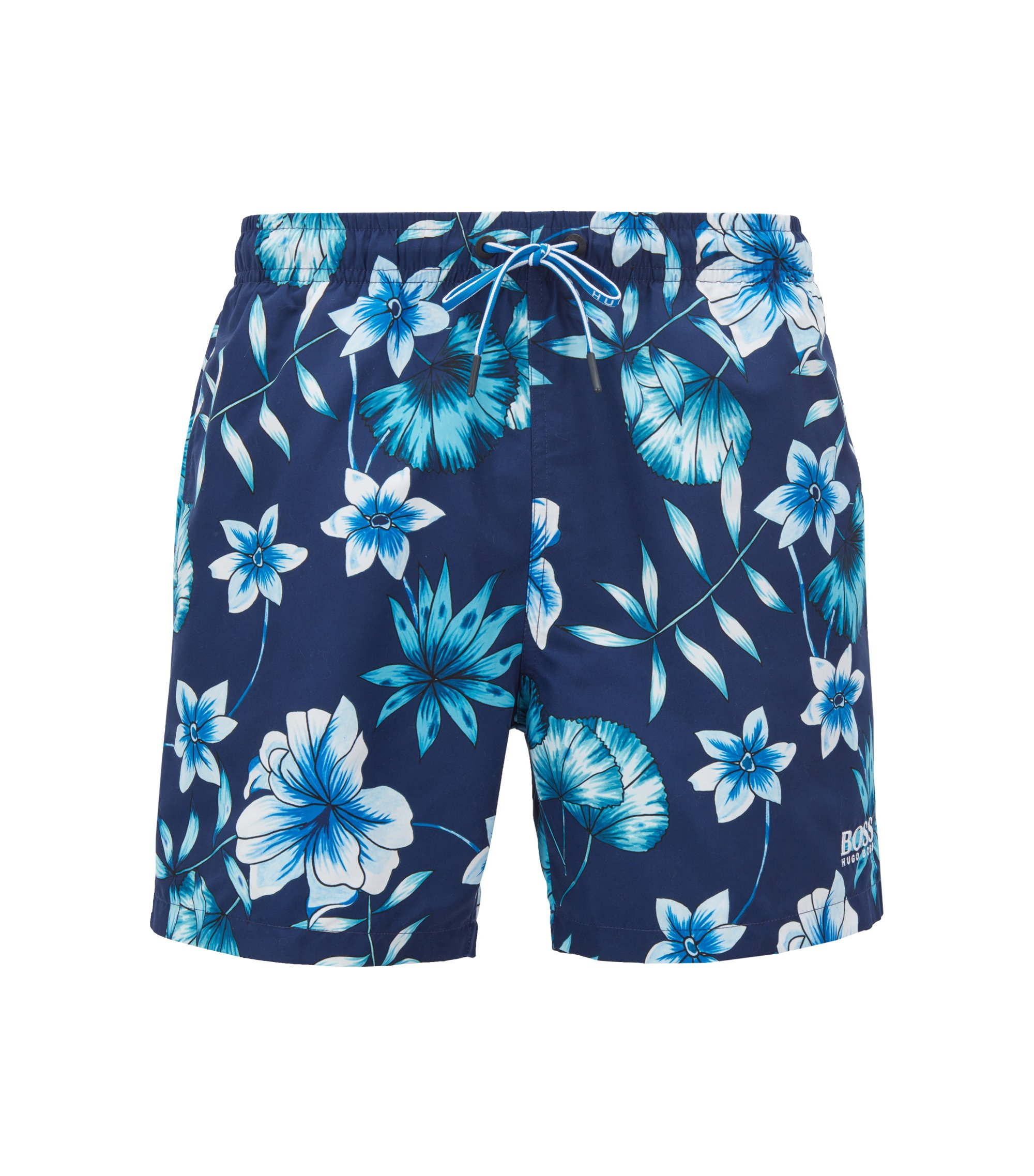 Floral-print swim shorts in quick-drying technical fabric, Open Blue