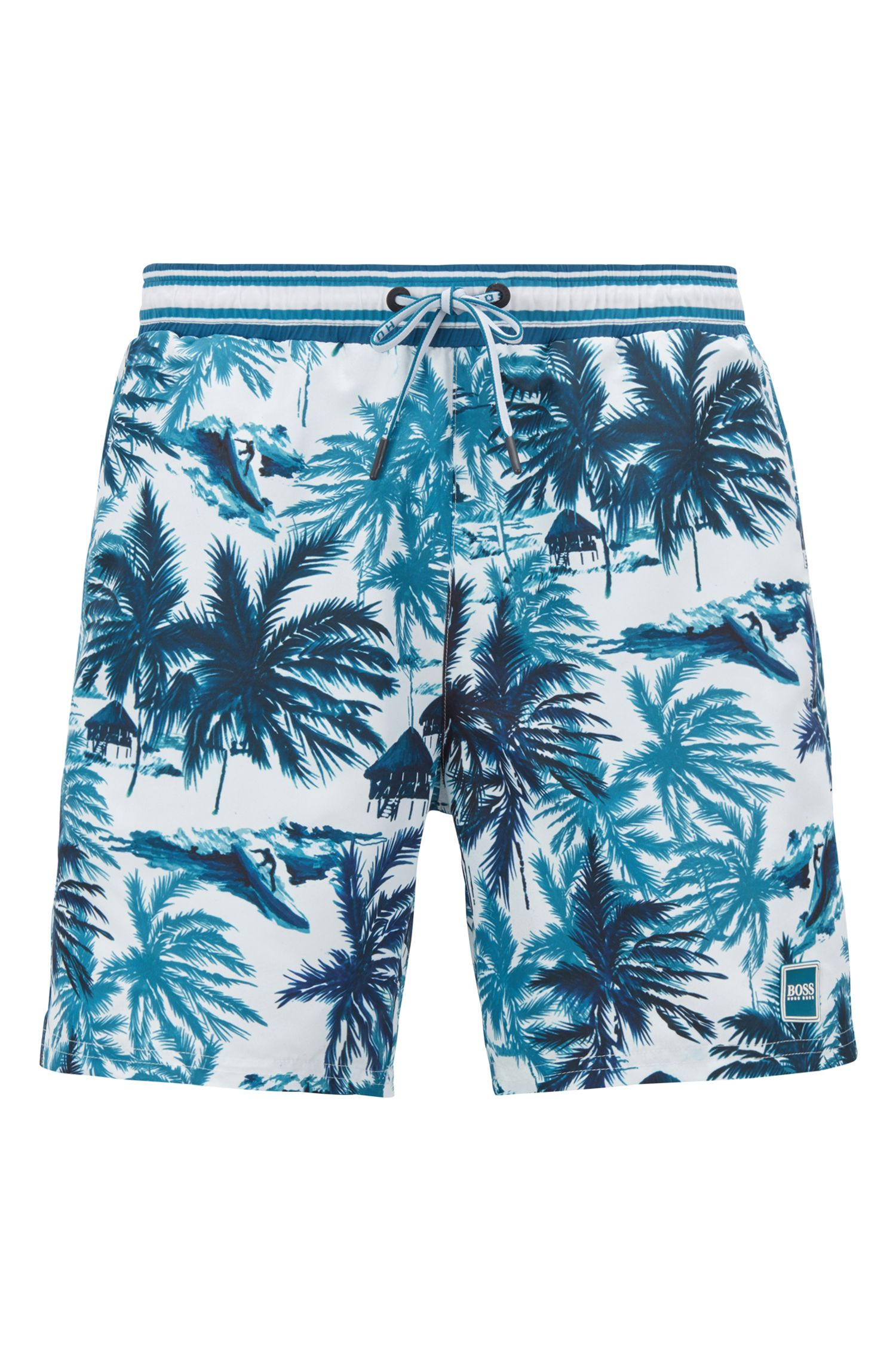Swim shorts with palm print in quick-drying fabric, Open Green