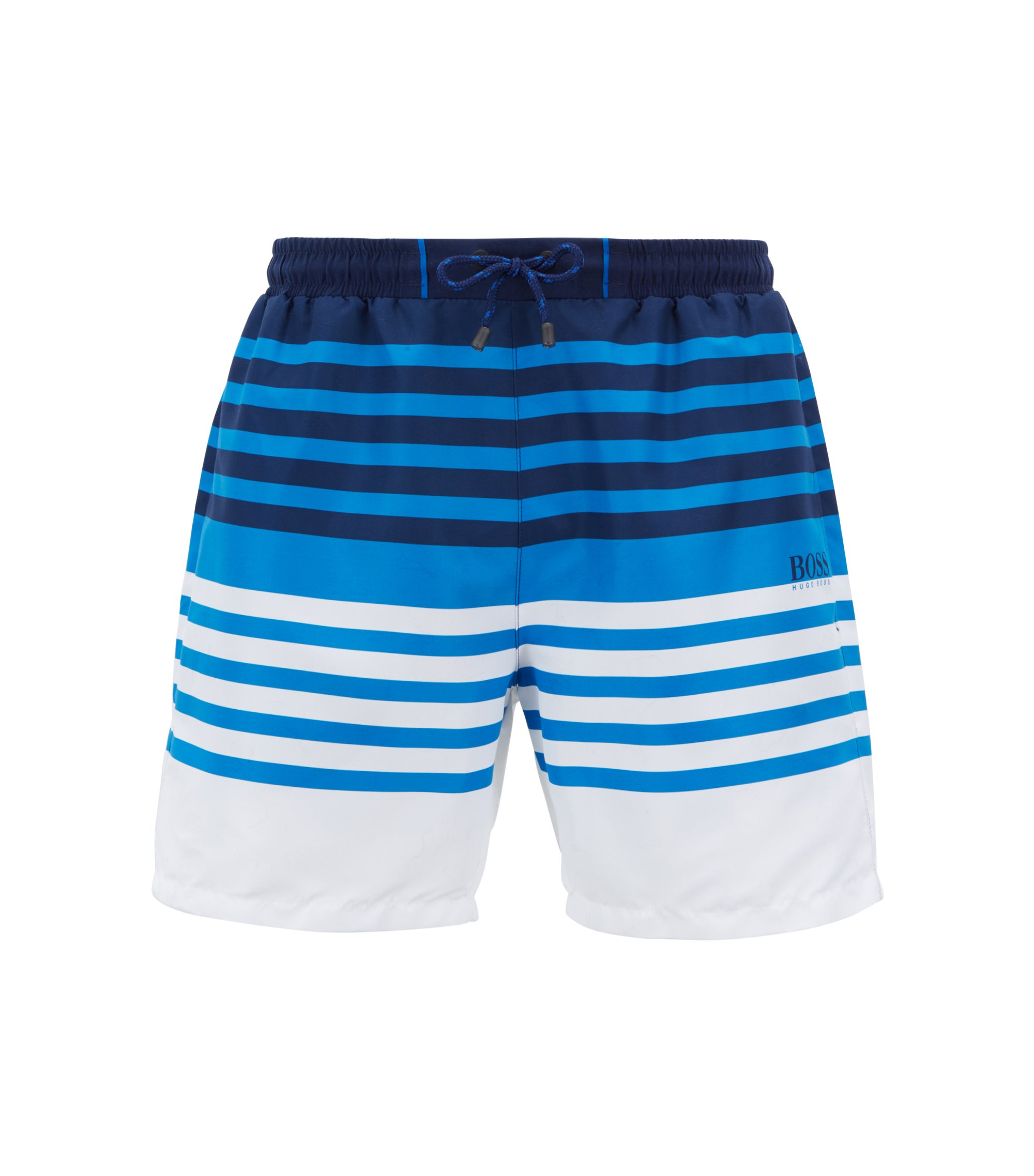 Striped swim shorts in quick-drying technical fabric, Open Blue