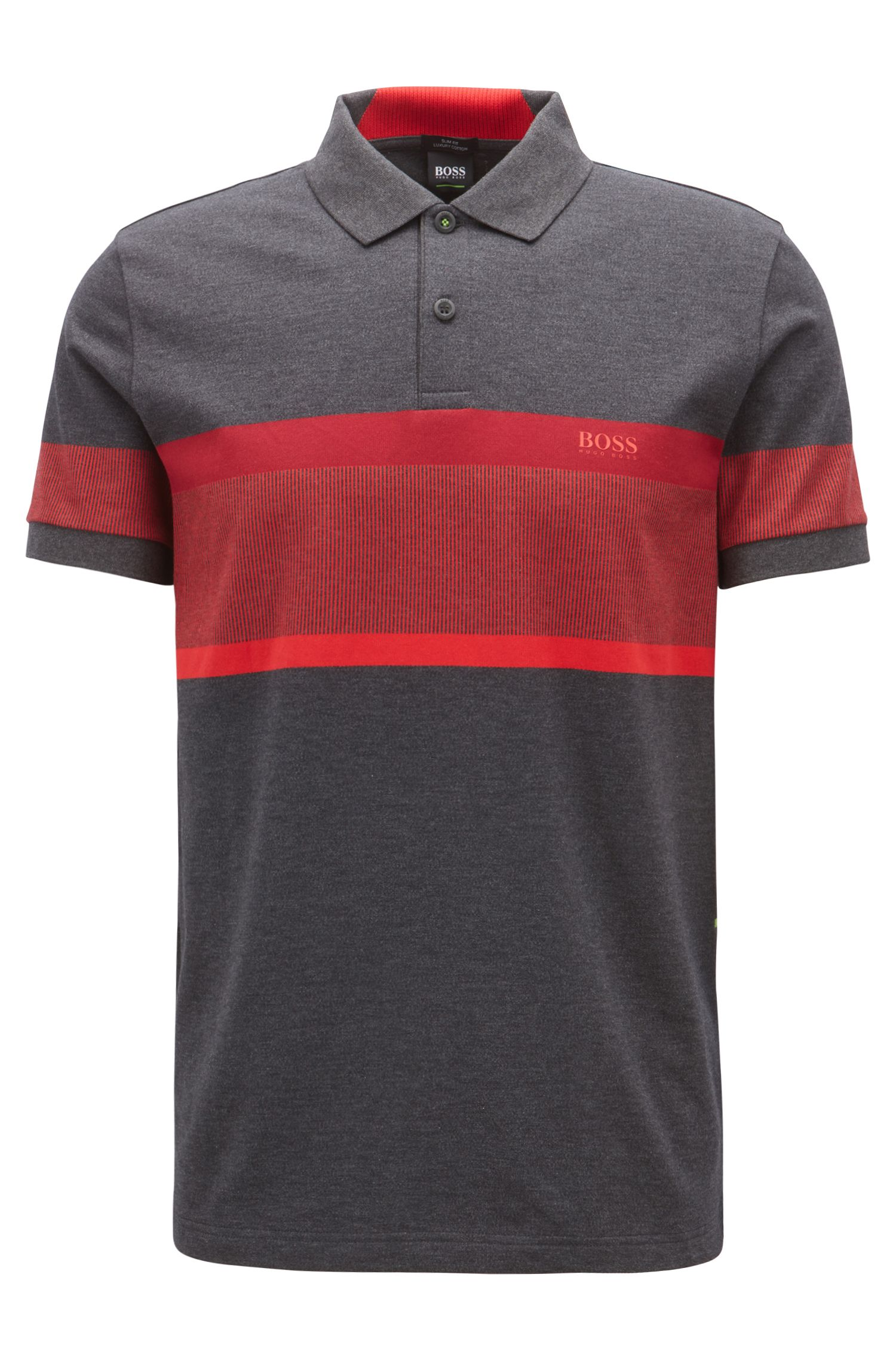 Slim-fit polo shirt with color-block stripes, Charcoal