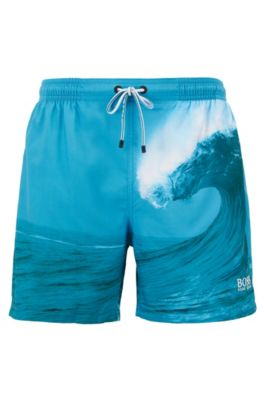 Quick-dry swim shorts with photographic foil print, Open Green
