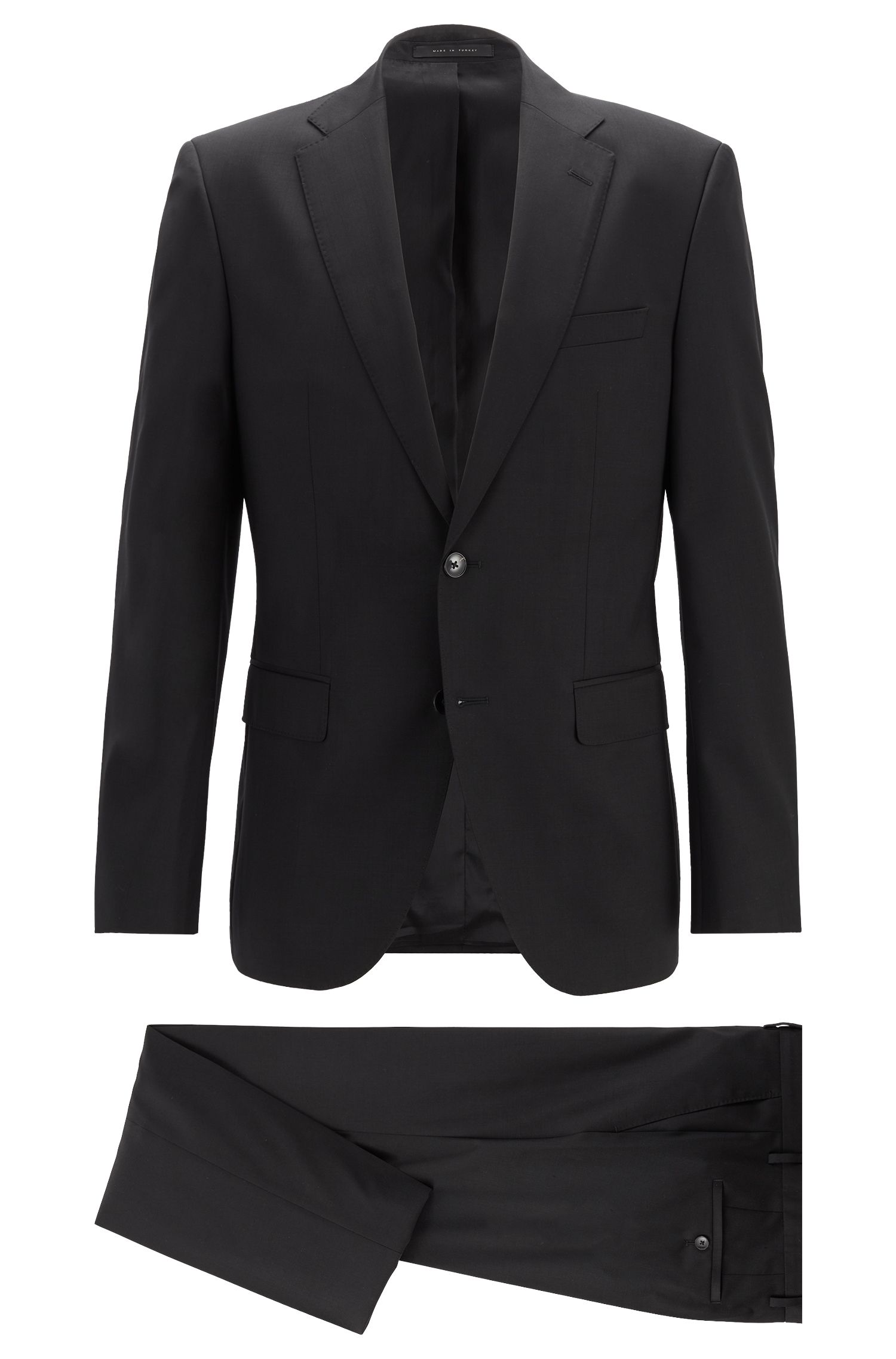 Regular-fit suit in virgin wool serge, Black