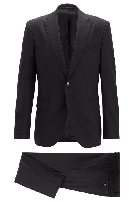 Regular-fit suit in virgin wool serge, Black