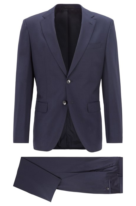 Regular-fit suit in virgin wool serge, Dark Blue