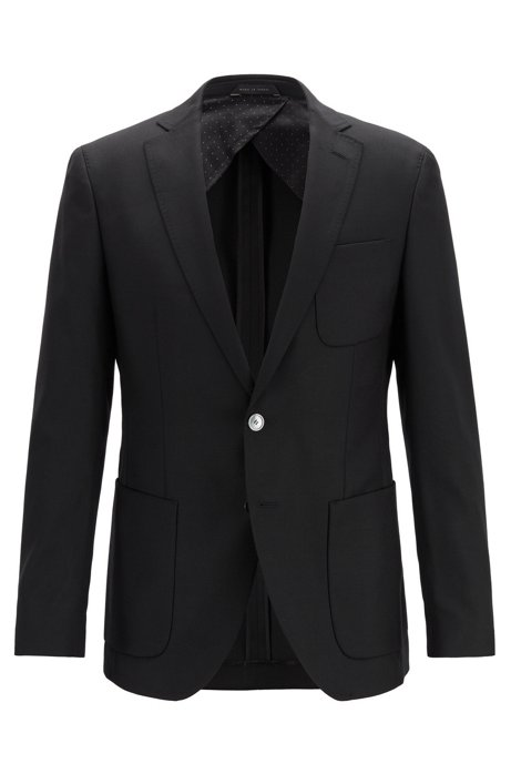Extra-slim-fit jacket in virgin wool with patch chest pocket, Black