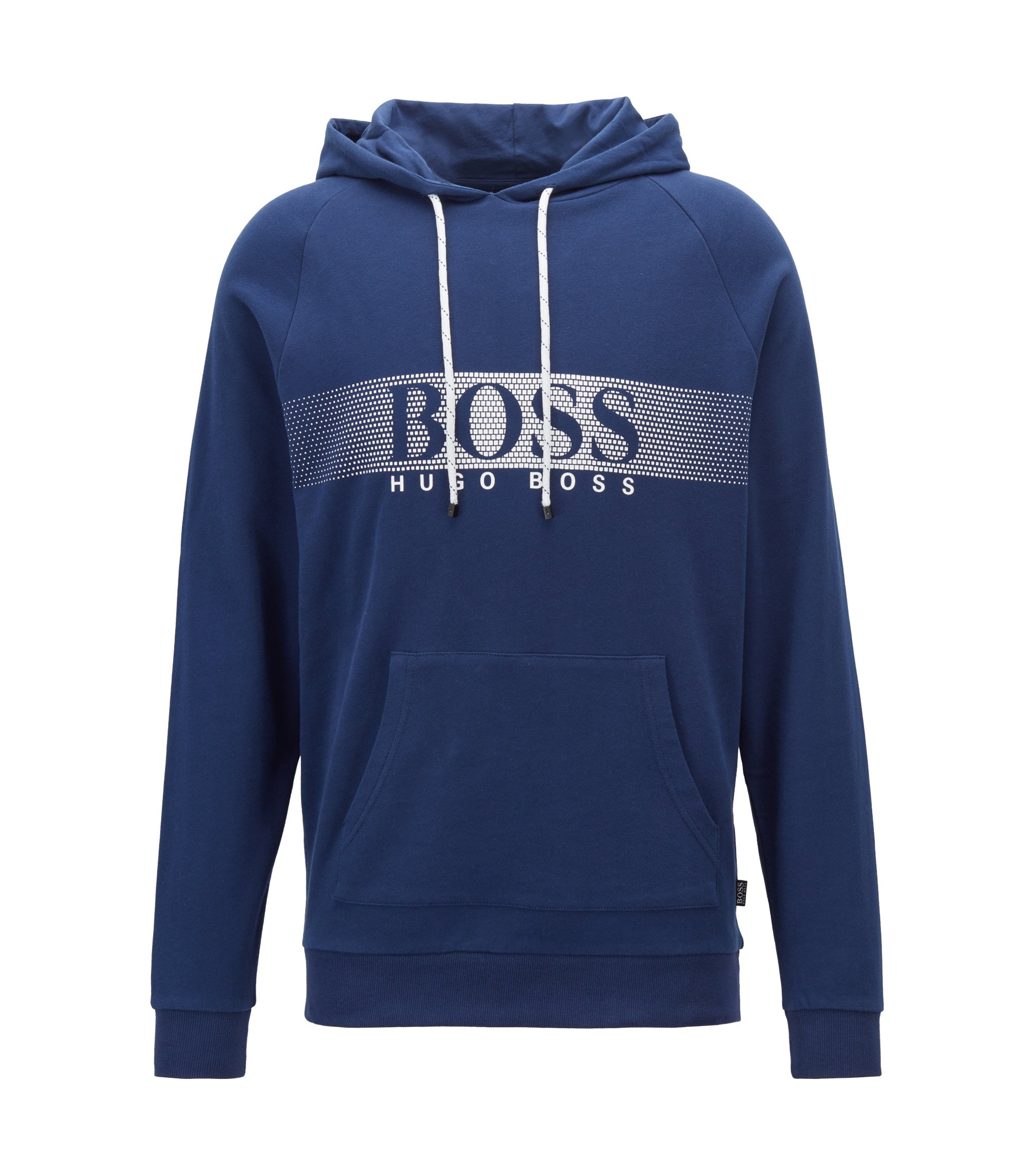 Relaxed-fit hooded sweatshirt in cotton with dégradé logo, Dark Blue