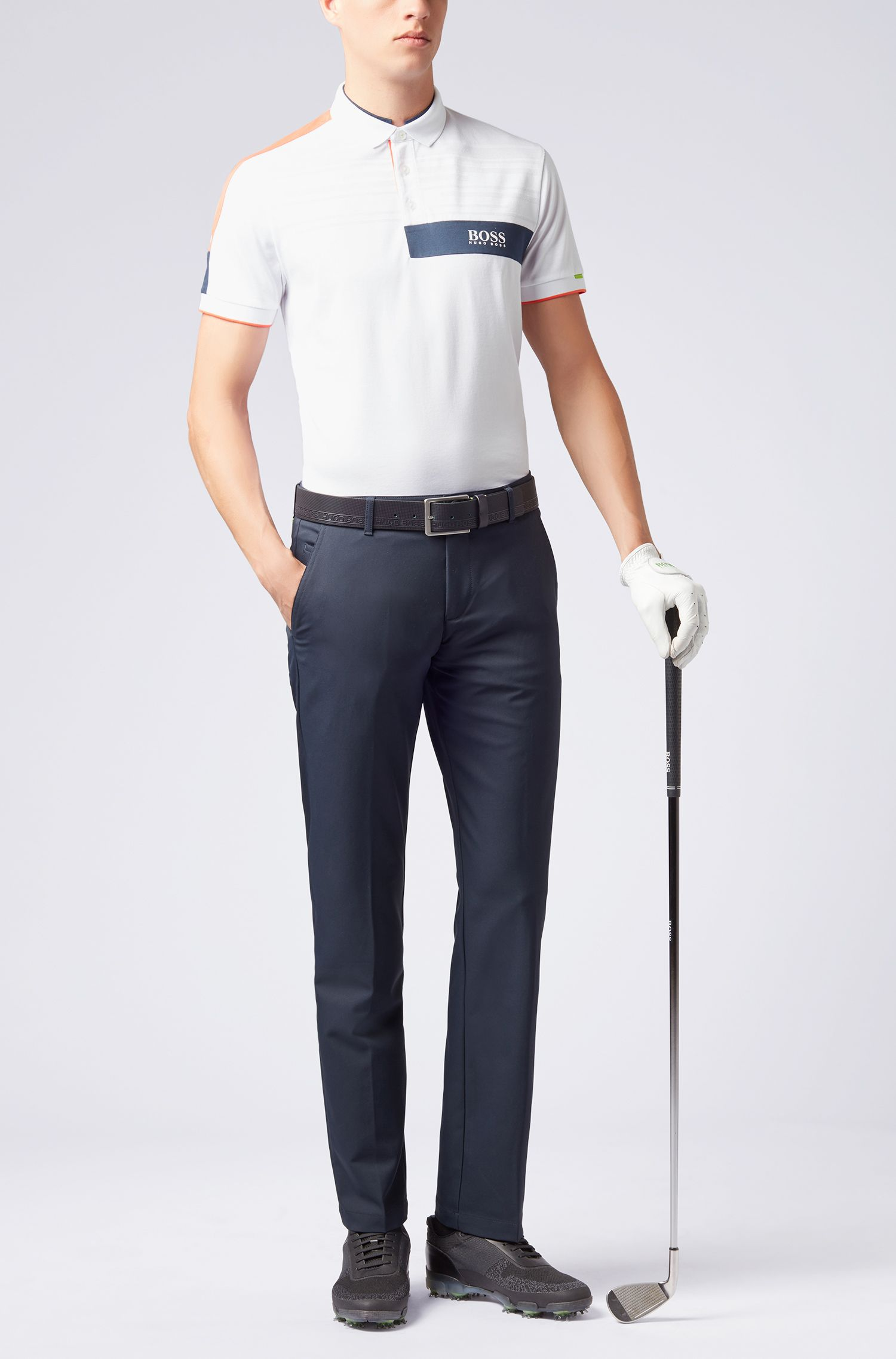 Polo shirt in a cotton blend with moisture management, White