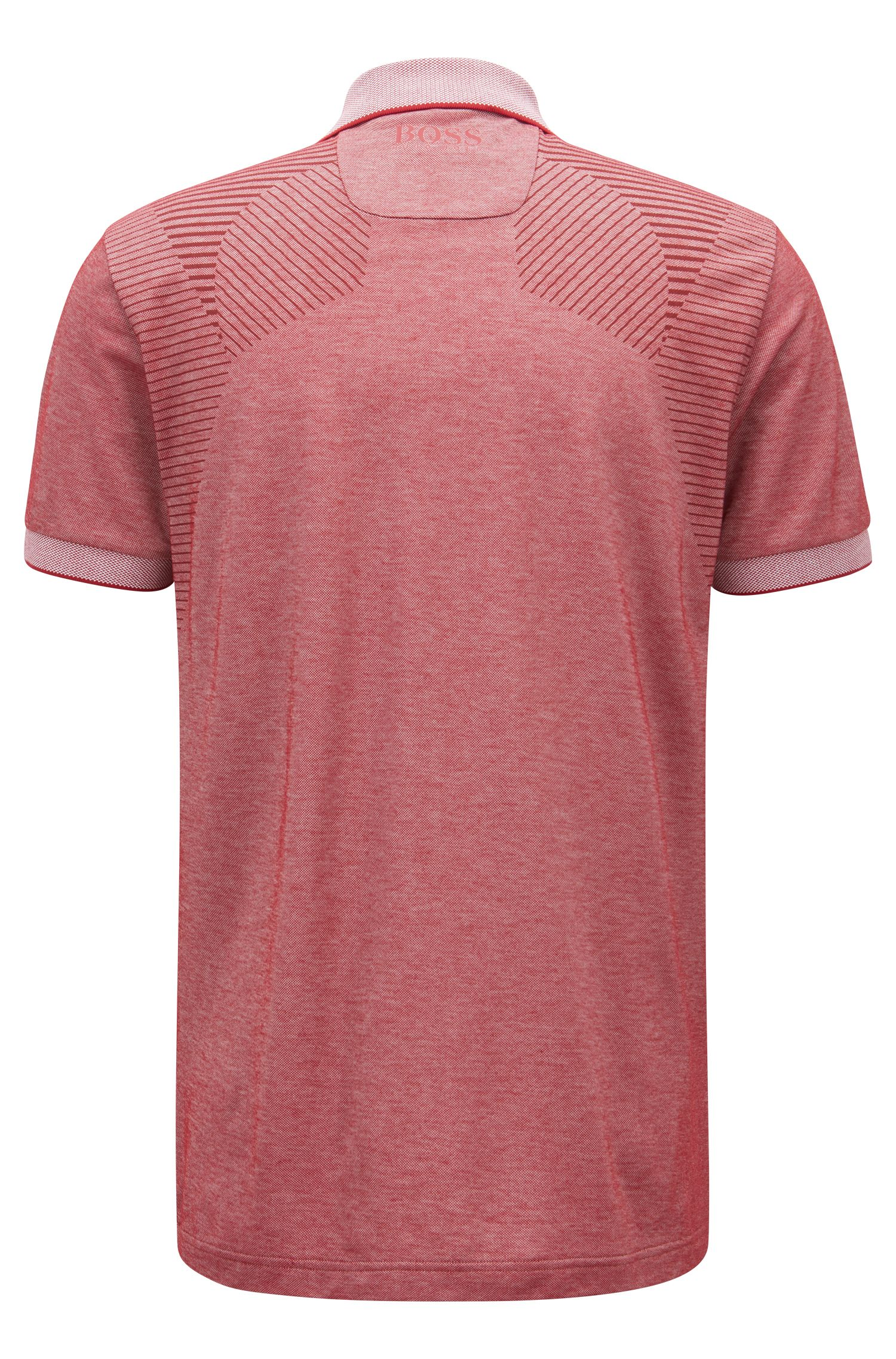 Zipper-neck knitted polo shirt with moisture management, Dark Red