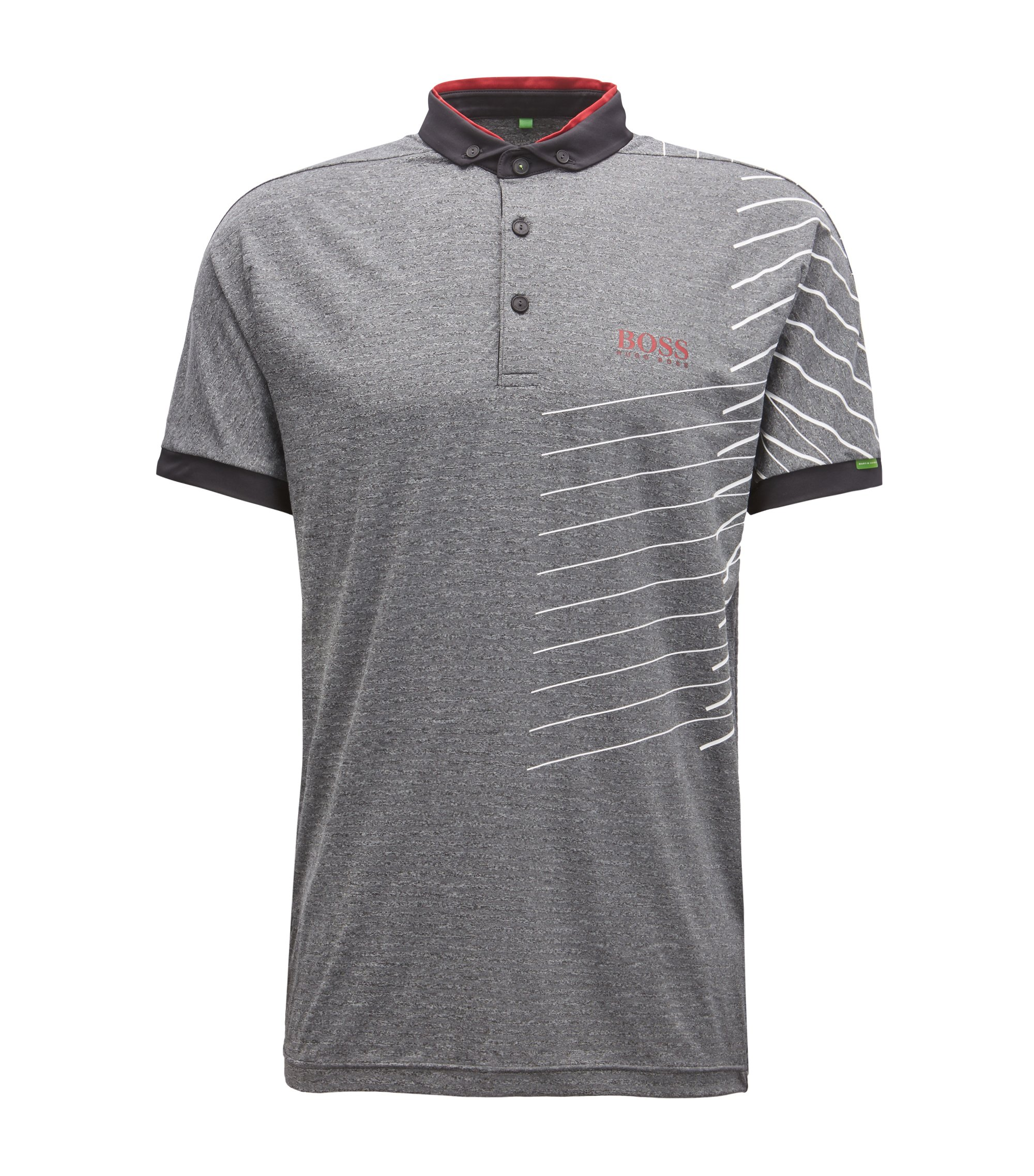 Striped polo shirt with moisture-management technology, Charcoal
