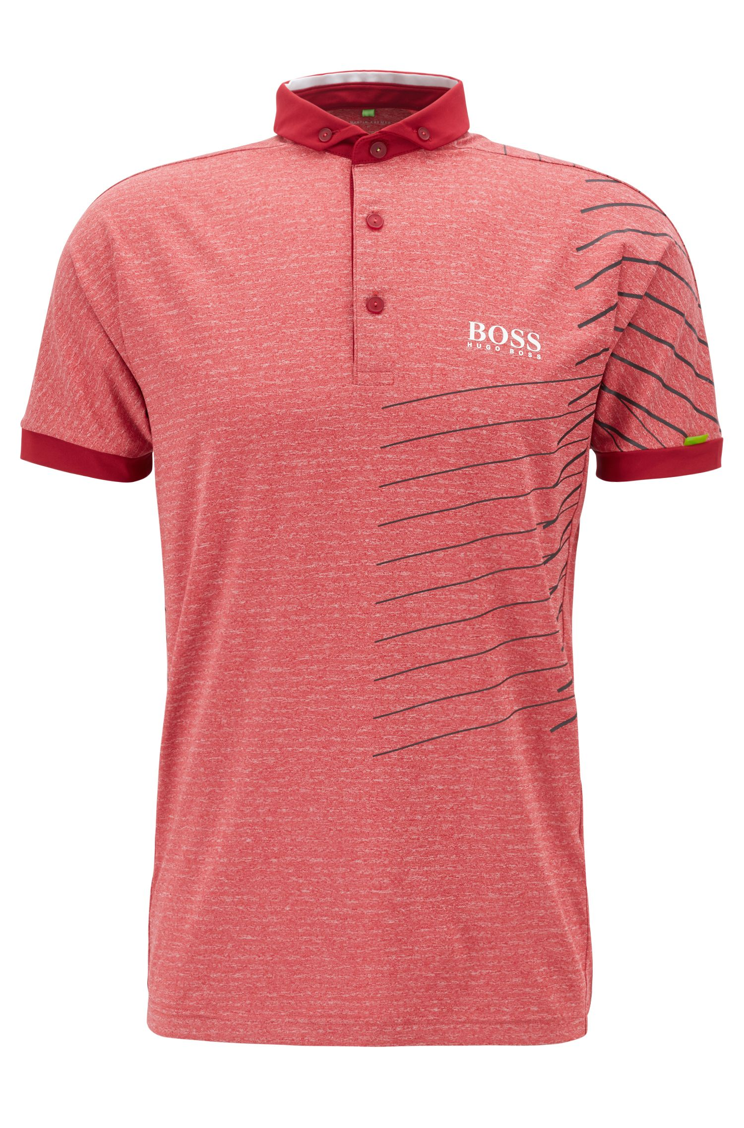 Striped polo shirt with moisture-management technology, Dark Red