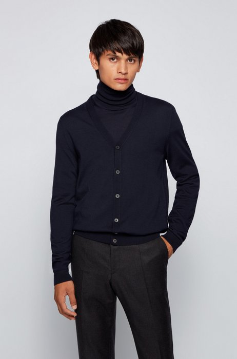 V-neck cardigan in extra-fine Italian merino wool, Dark Blue