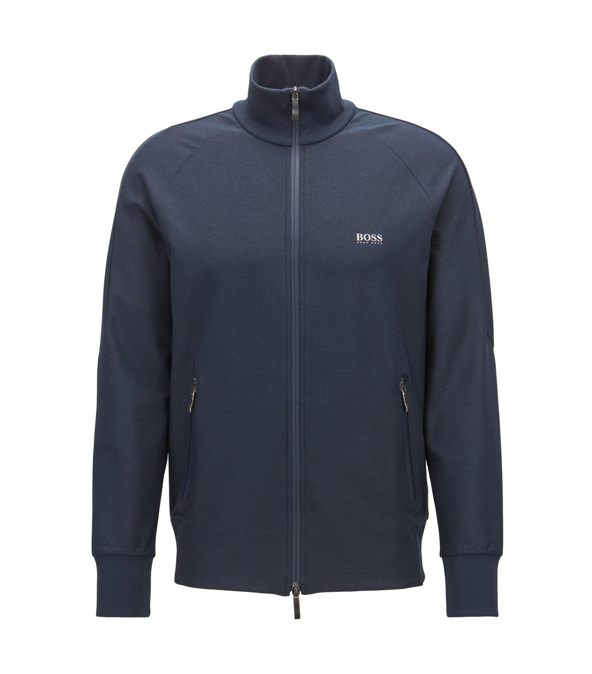 Zippered sweatshirt in active-stretch with S.Café®, Dark Blue