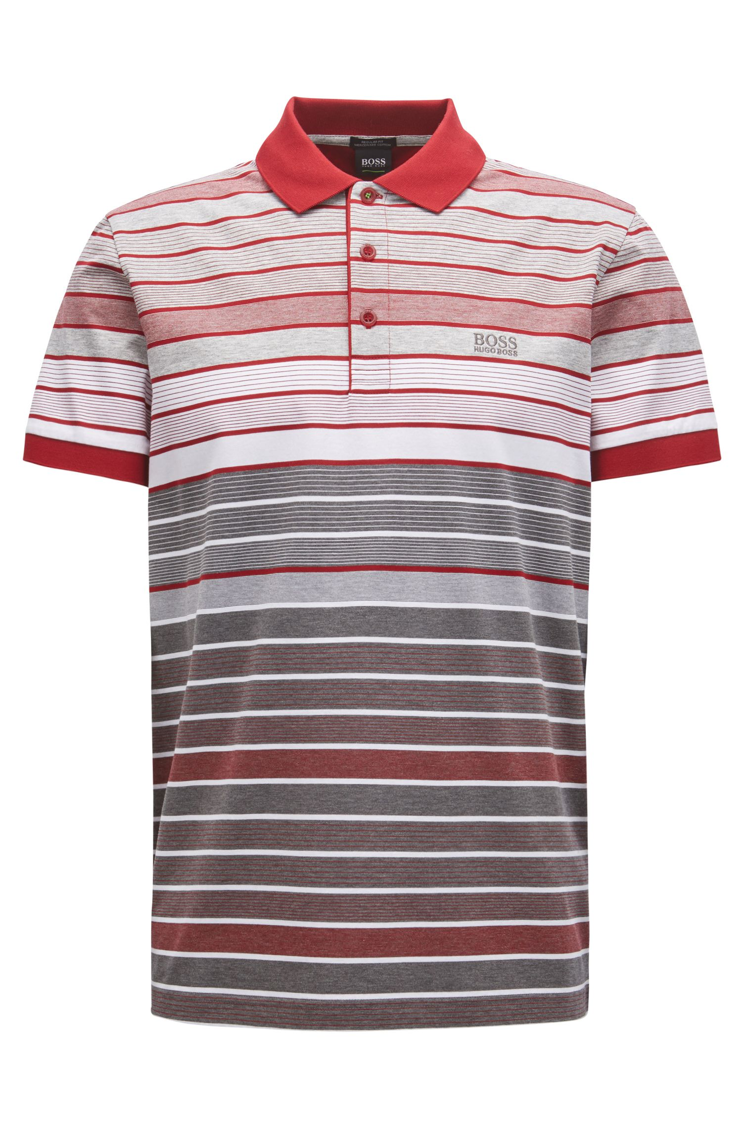 Regular-fit striped polo shirt in mercerized cotton, Grey
