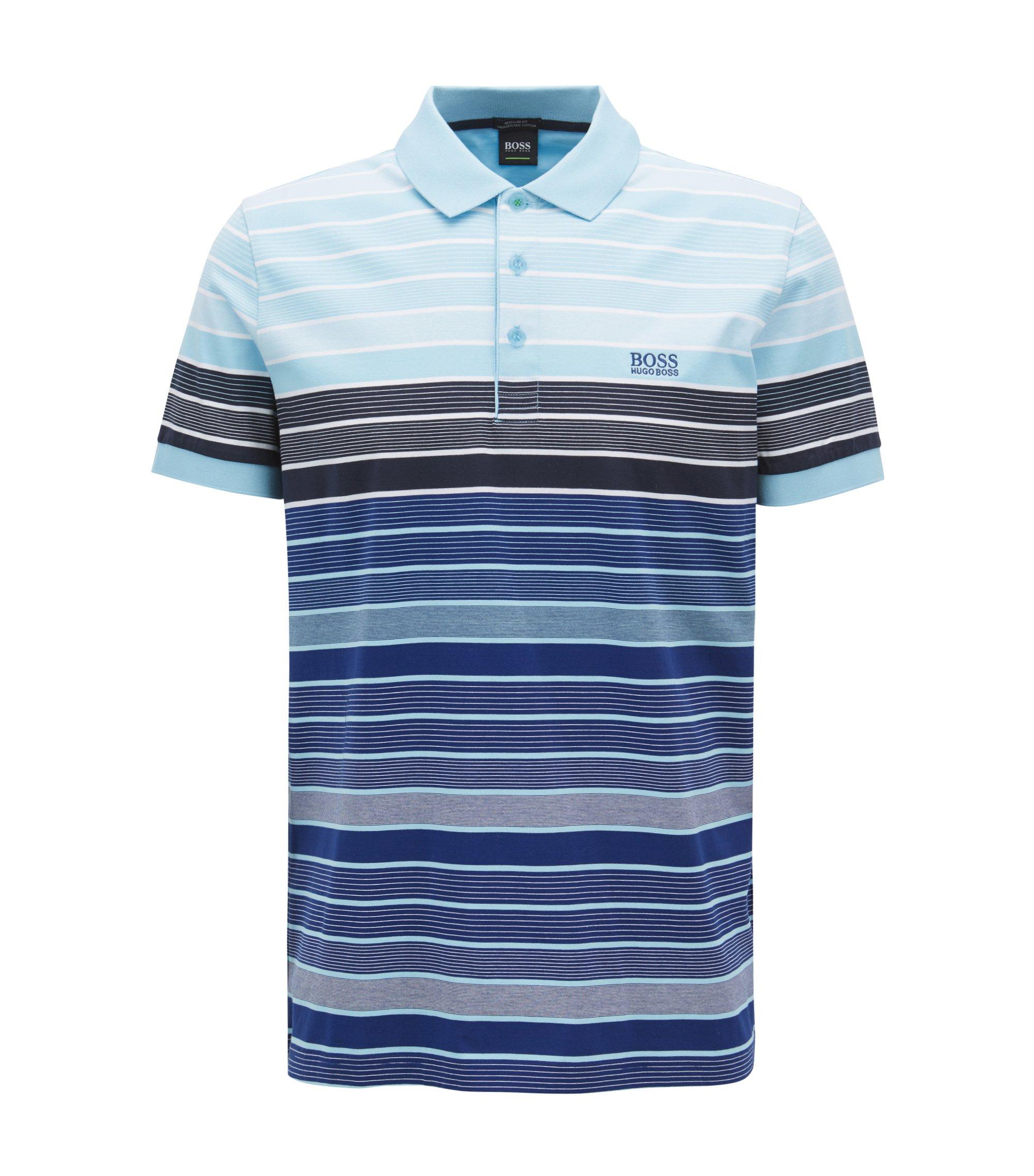 Regular-fit striped polo shirt in mercerized cotton, Dark Blue