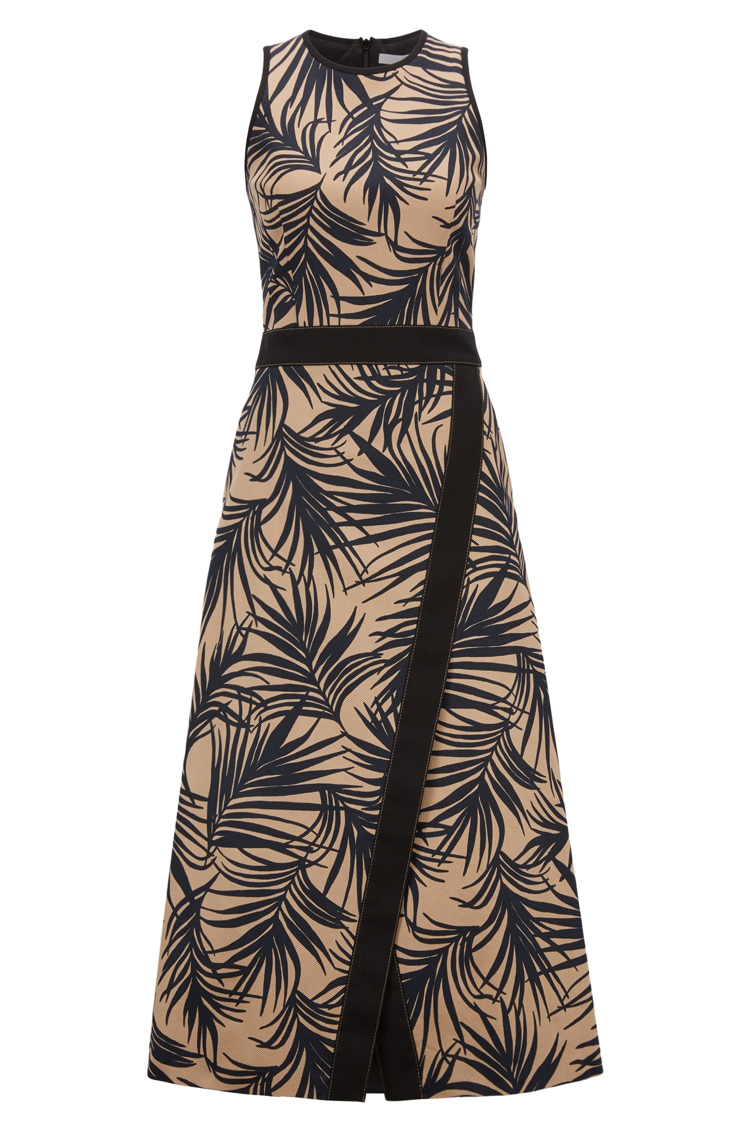 Sleeveless dress with palm-leaf-print and wrapped skirt, Patterned