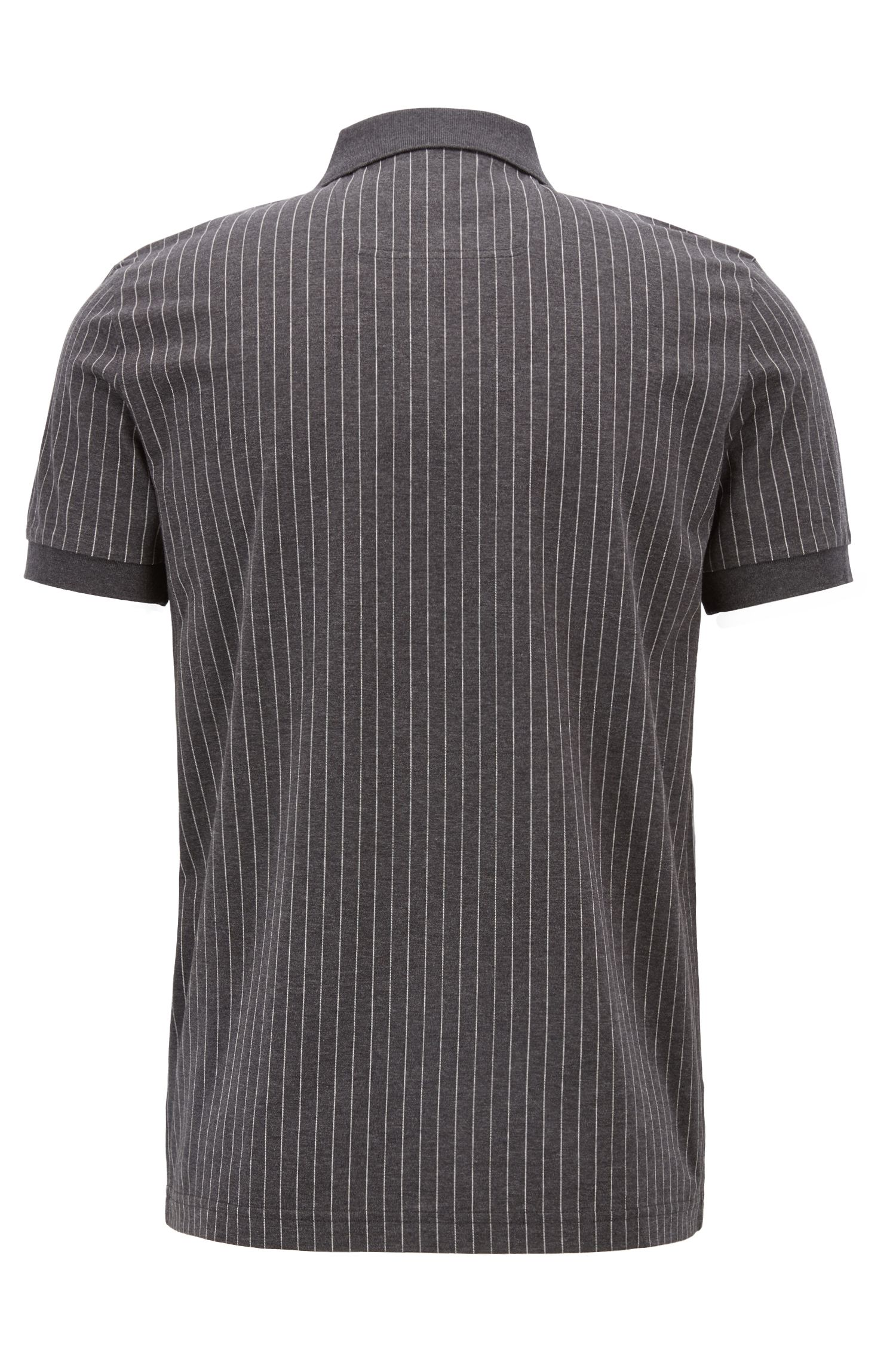 Regular-fit pinstripe polo shirt in mercerized cotton, Charcoal