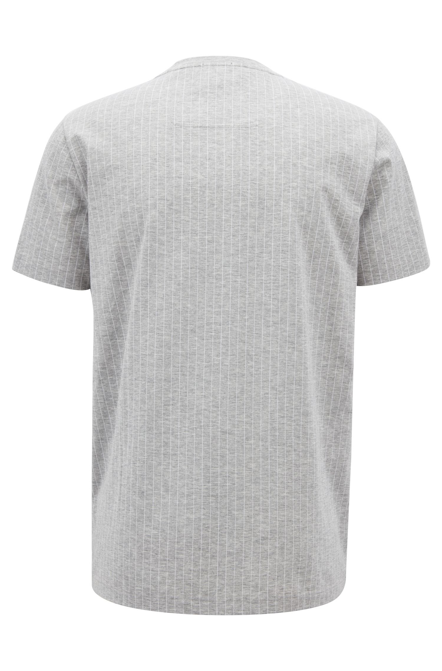 Pinstripe T-shirt in mercerized cotton with flock-print logo, Light Grey