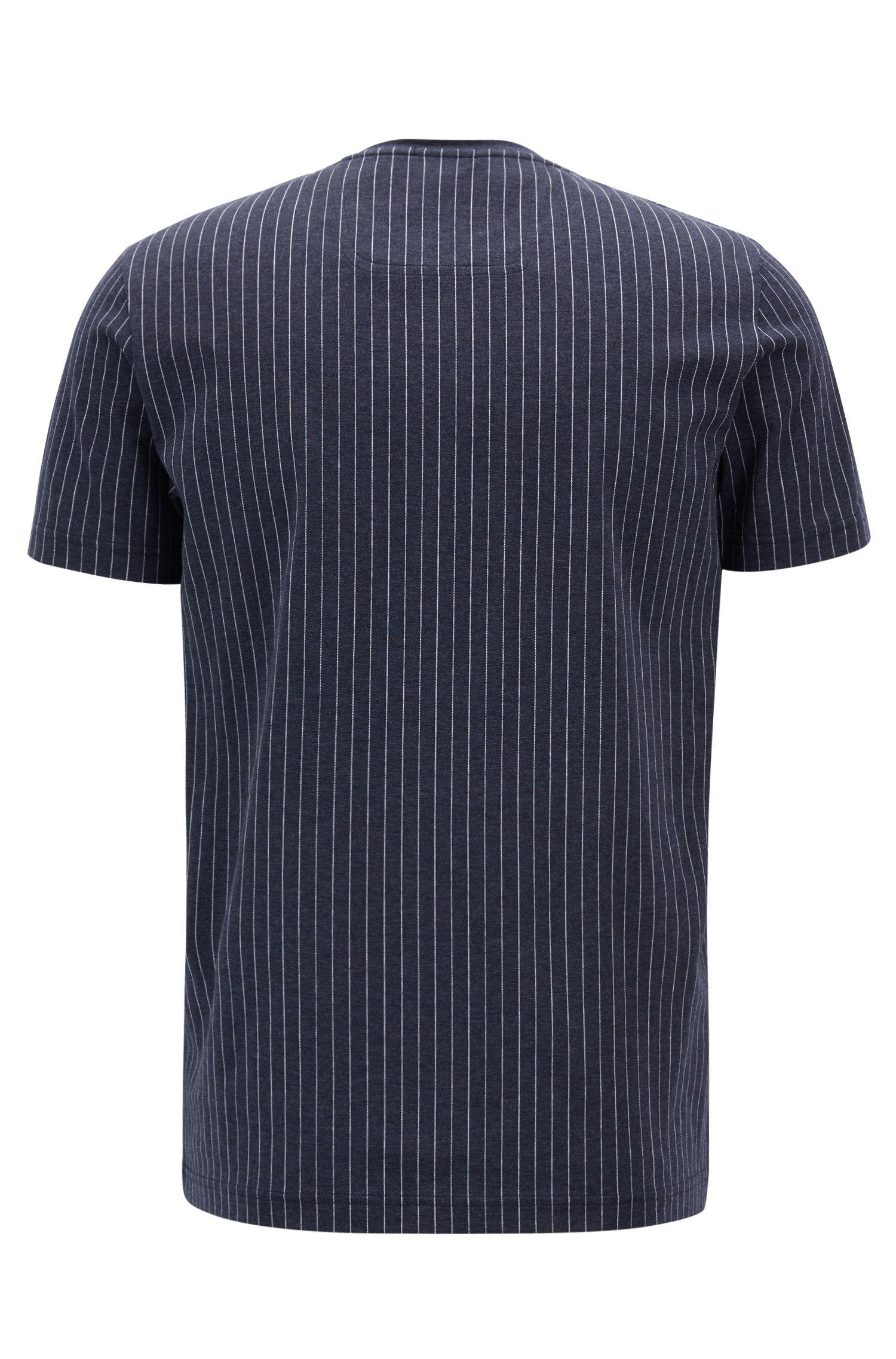 Pinstripe T-shirt in mercerized cotton with flock-print logo, Dark Blue