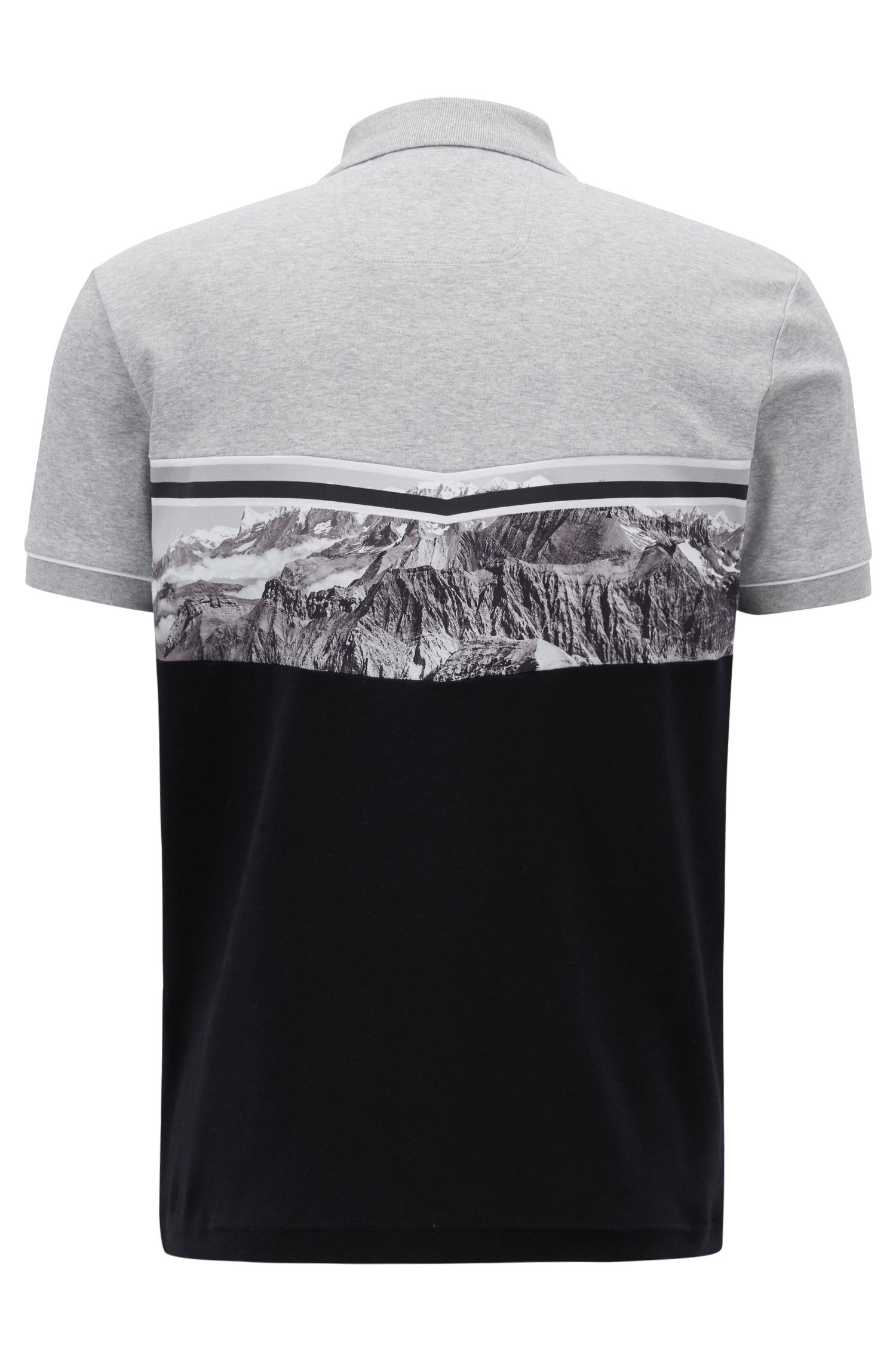 Color-block polo shirt with rear photographic landscape print, Black