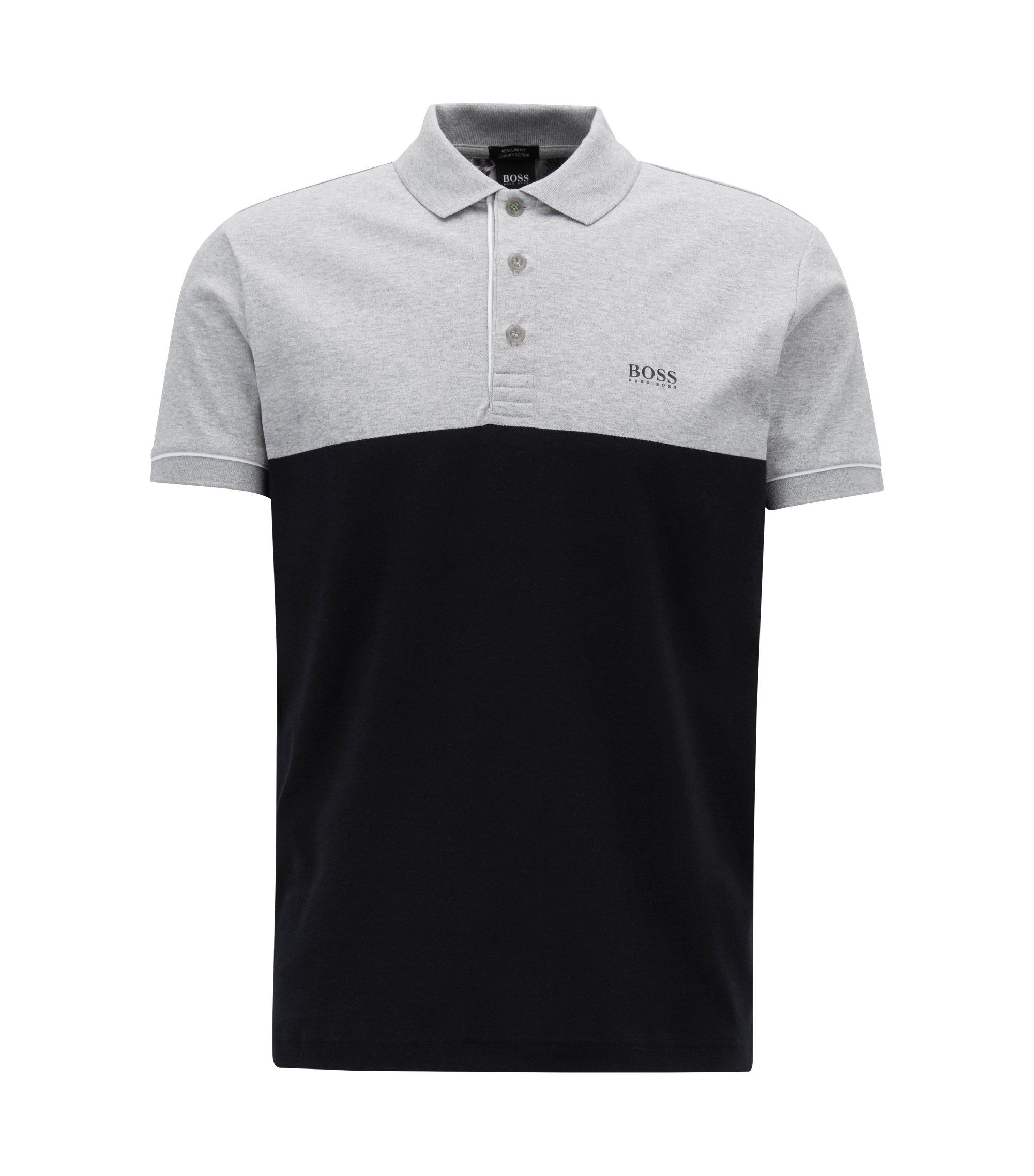 Color-block polo shirt with rear photographic landscape print, Black