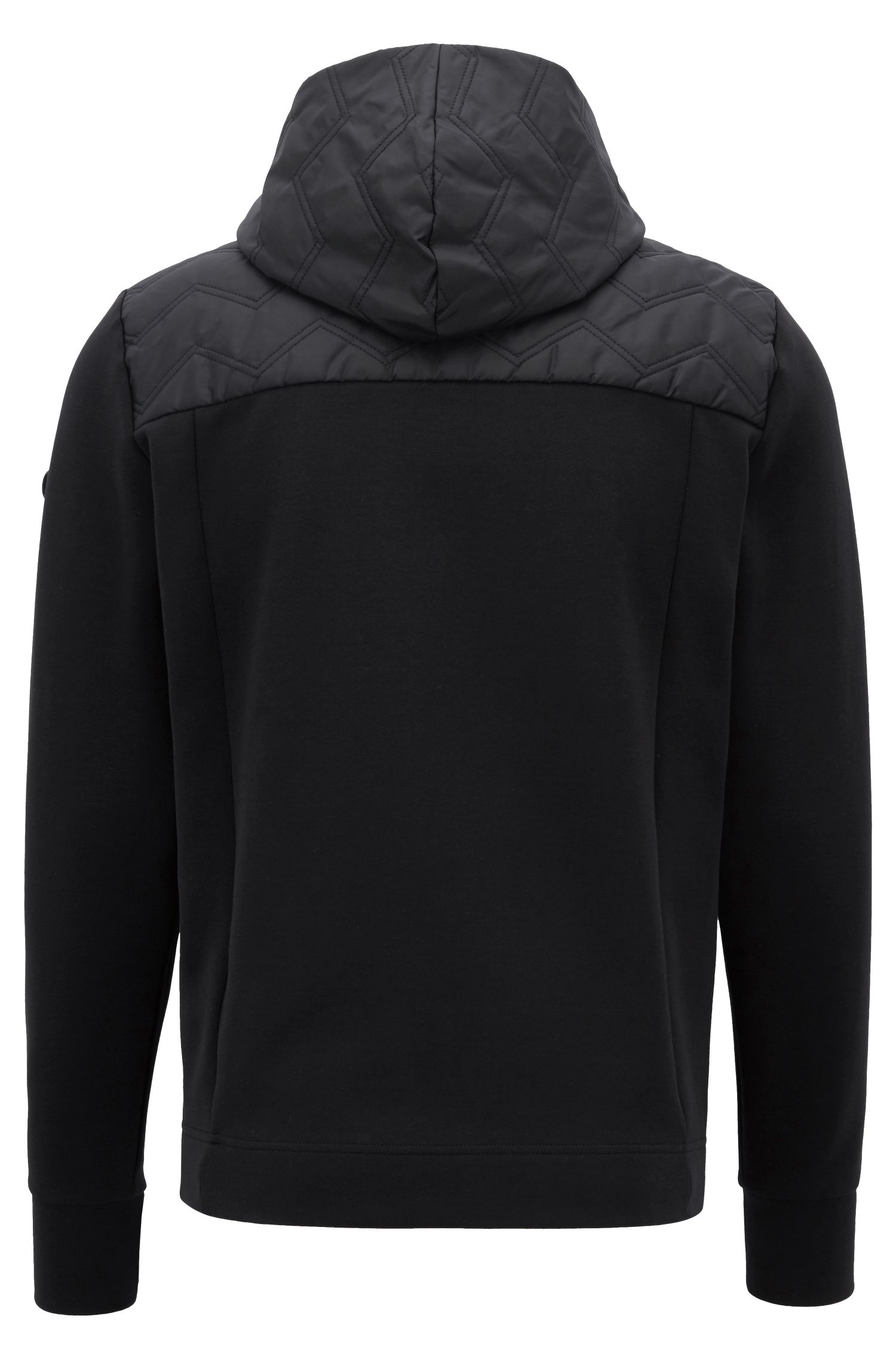 Zippered sweatshirt with quilted panel and detachable hood, Black