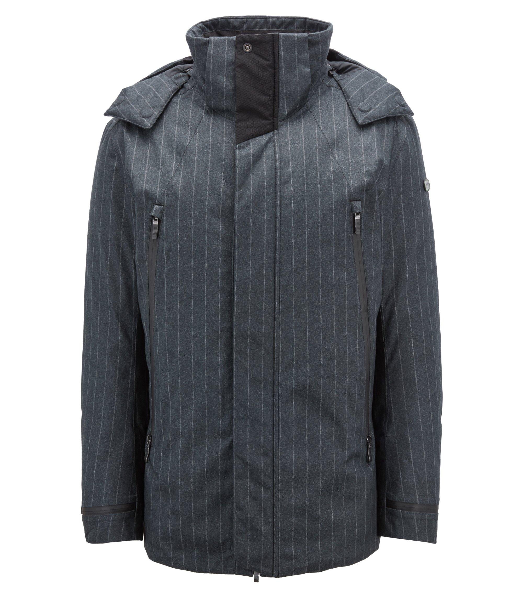 Waterproof down jacket in pinstripe technical fabric, Charcoal