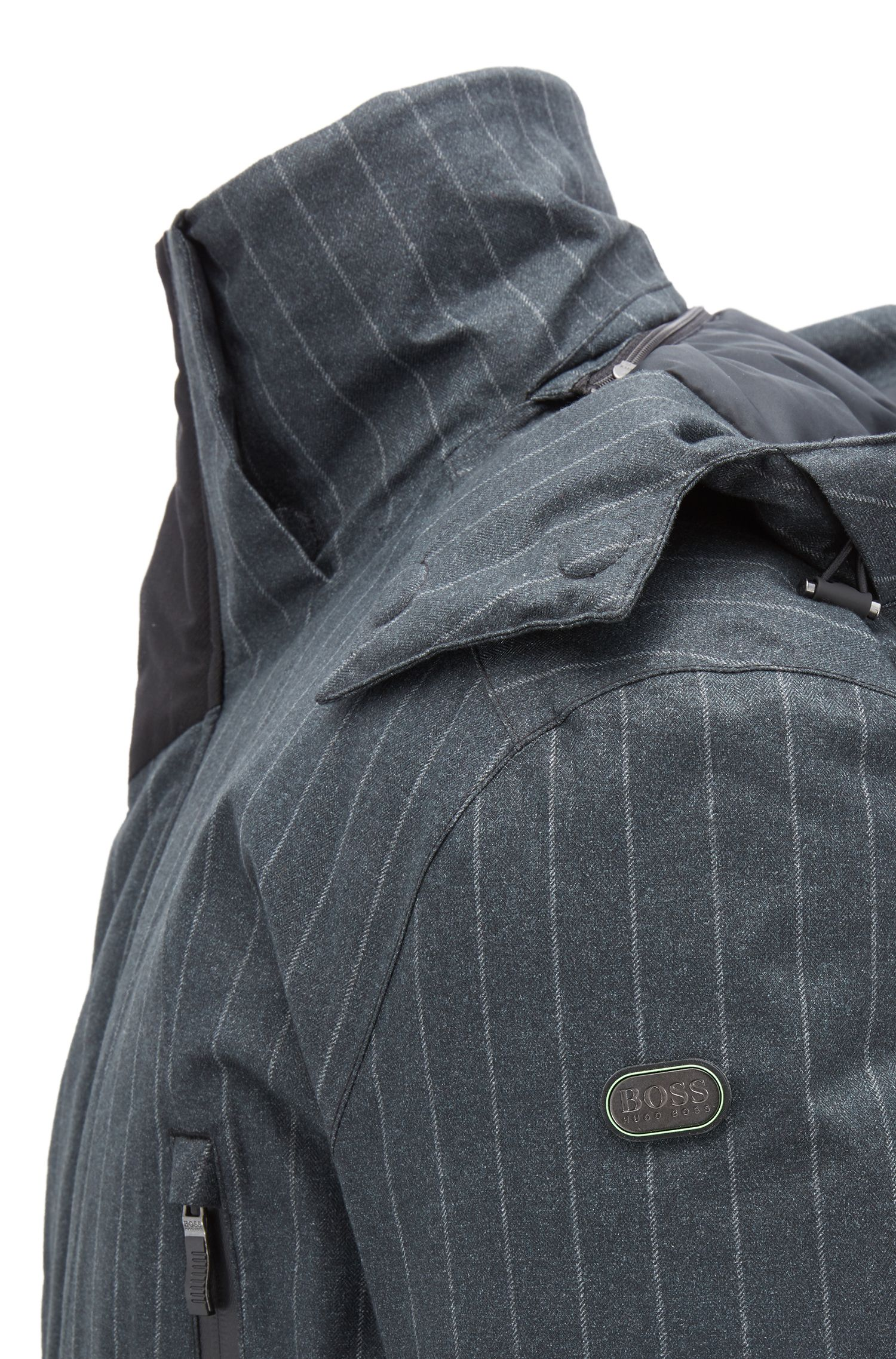 Waterproof down jacket in pinstripe technical fabric, Charcoal