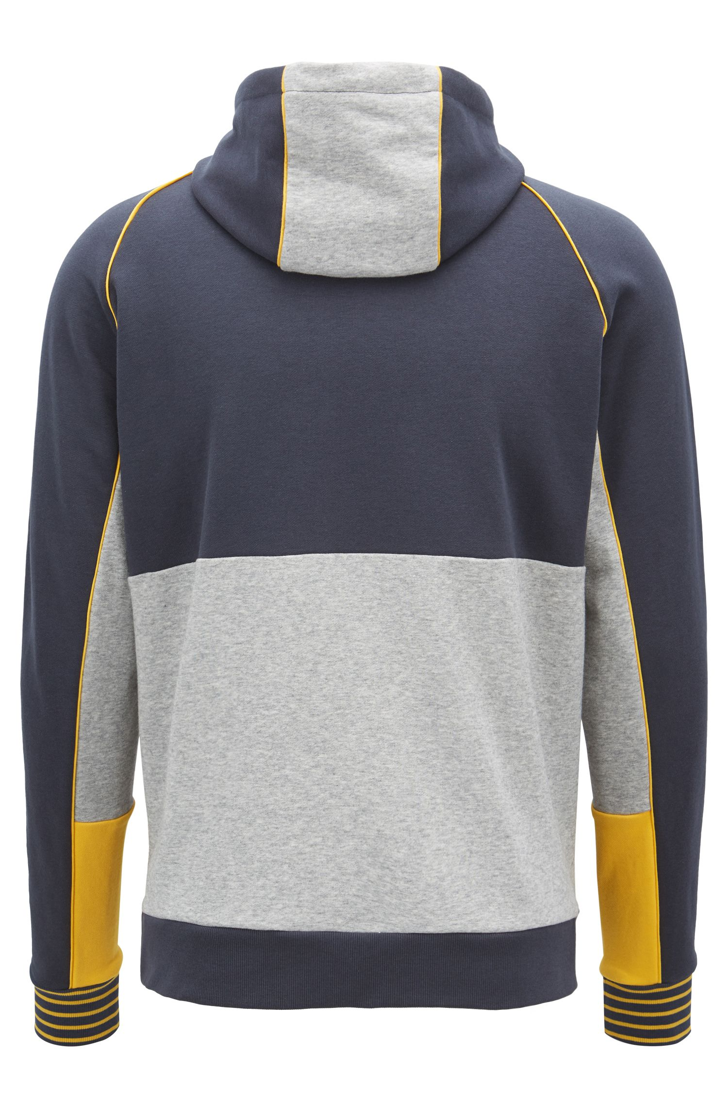 Hooded sweatshirt in French terry with color-block detailing, Dark Blue