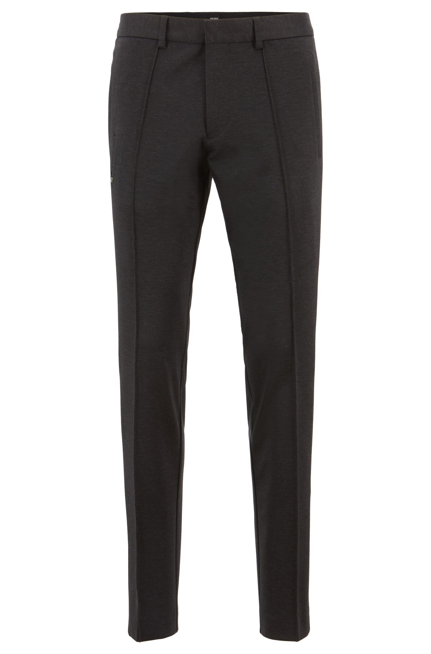 Tapered-fit pants in stretch fabric with side stripes, Charcoal
