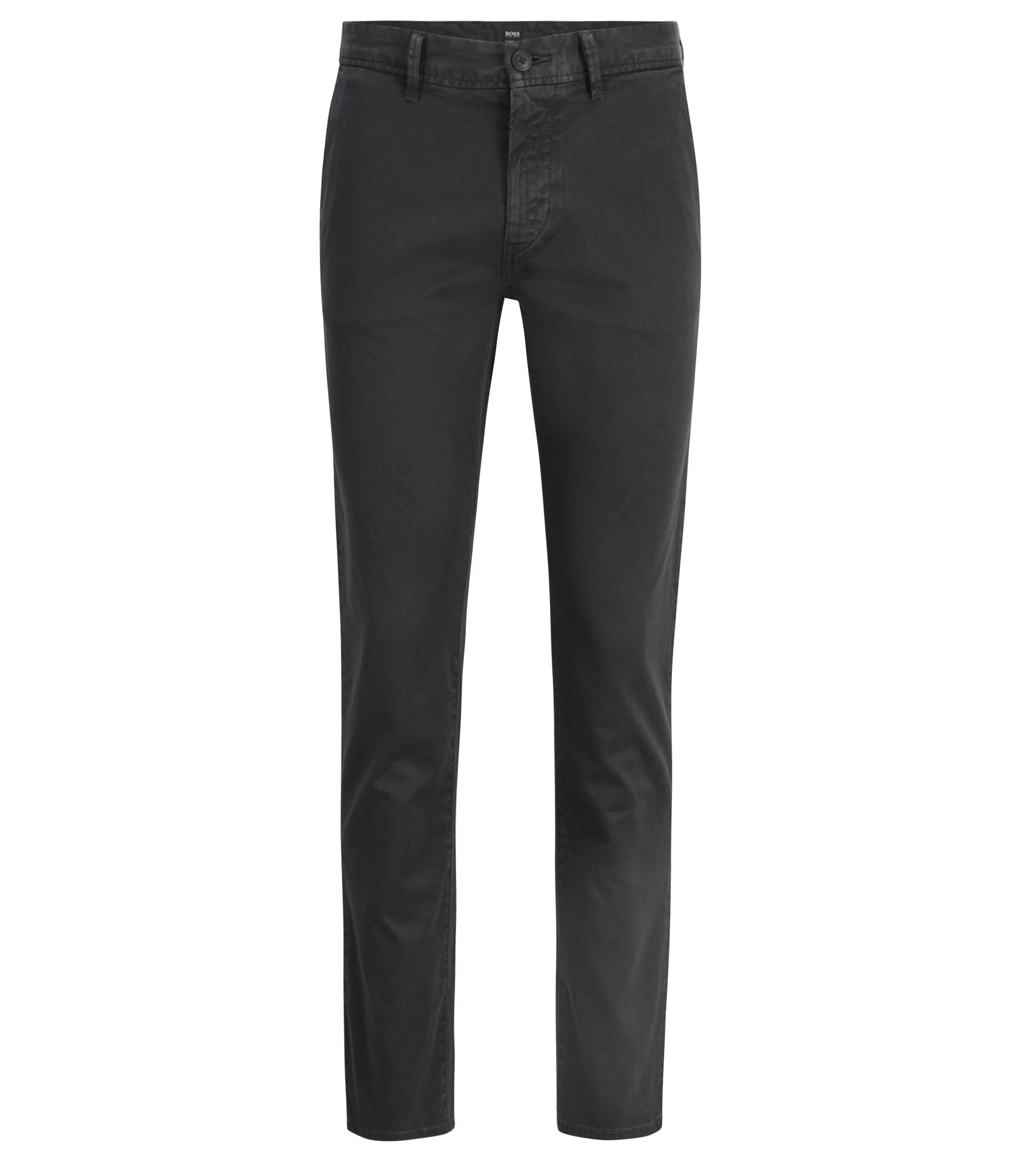 Slim-fit chinos in pigment-dyed stretch cotton twill, Black
