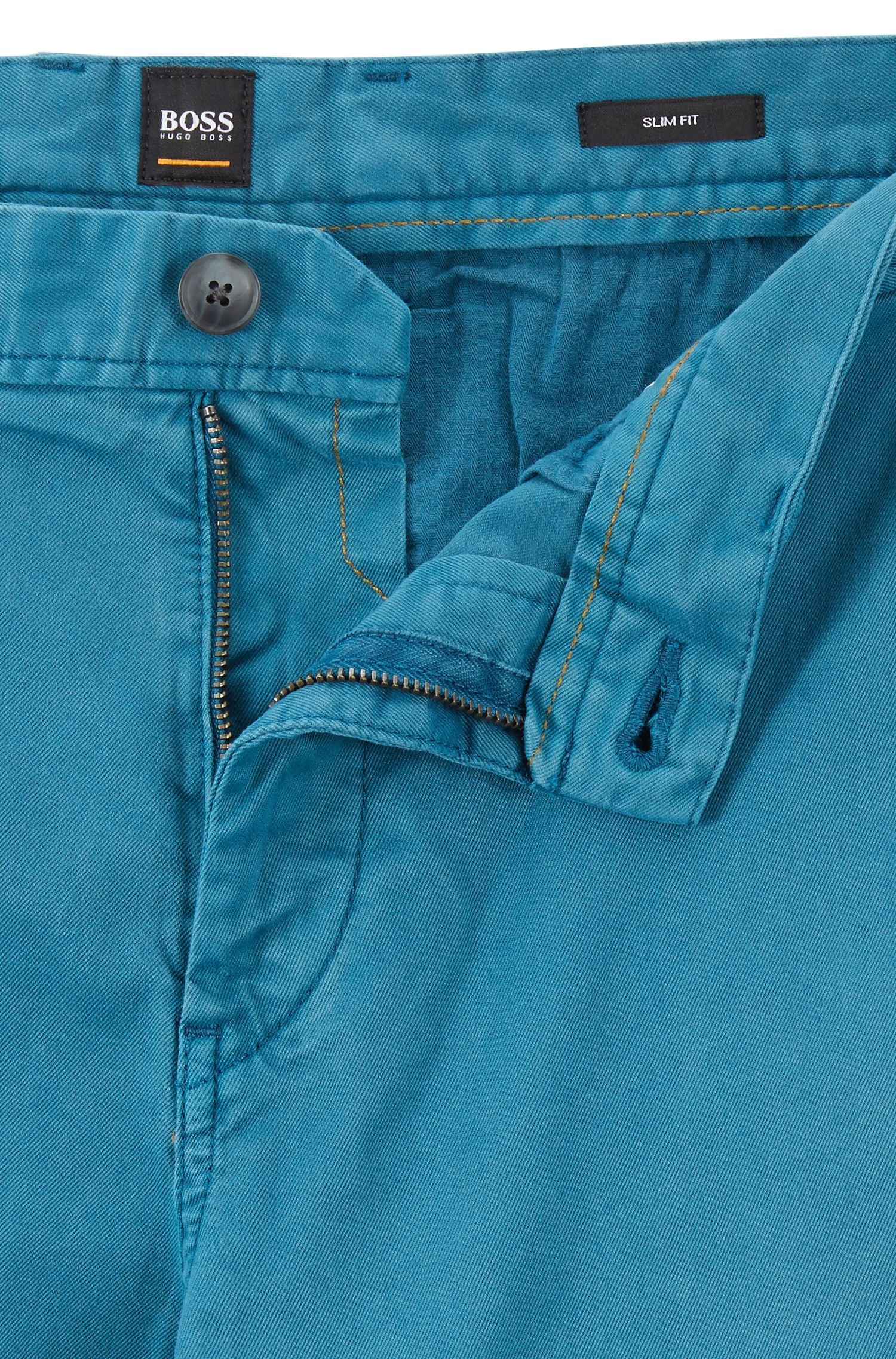 Slim-fit chinos in pigment-dyed stretch cotton twill, Open Blue