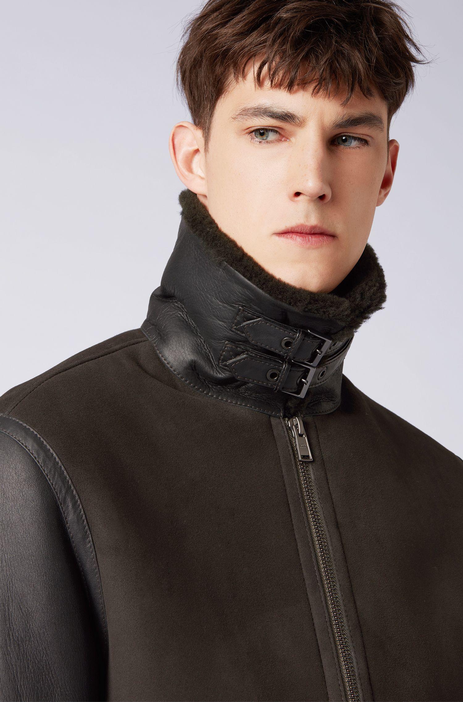 Biker jacket in lamb fur with shearling inner, Open Green