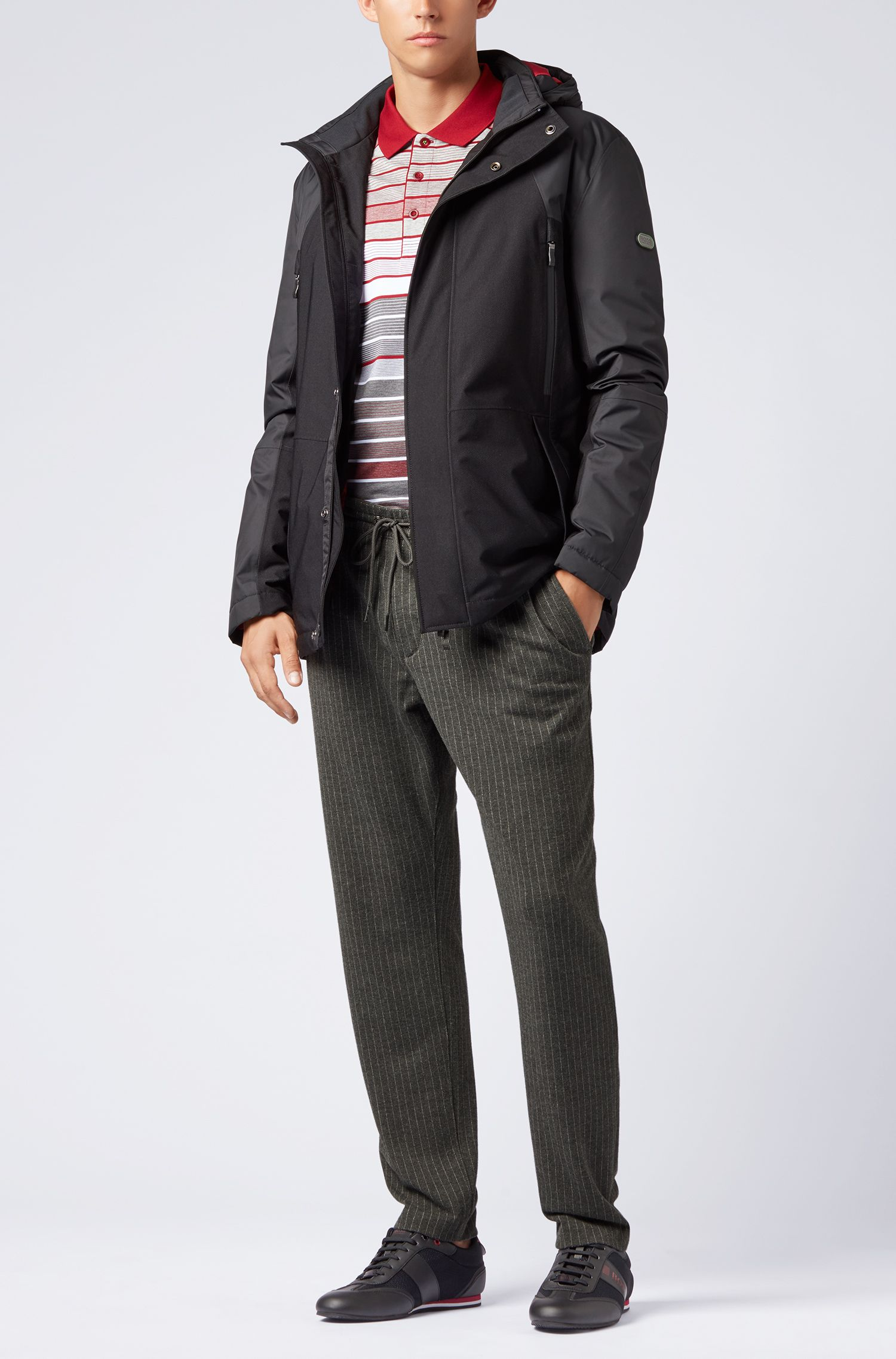 Tapered-fit pants in pinstripe brushed jersey with drawstring, Grey