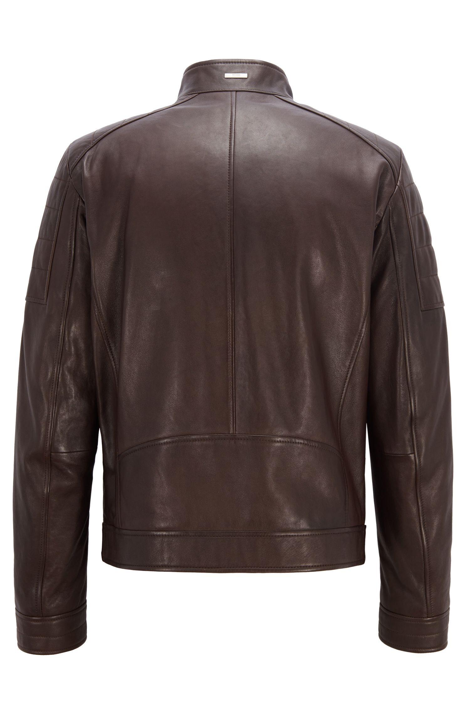 Regular-fit blouson leather jacket with padded shoulders, Dark Brown