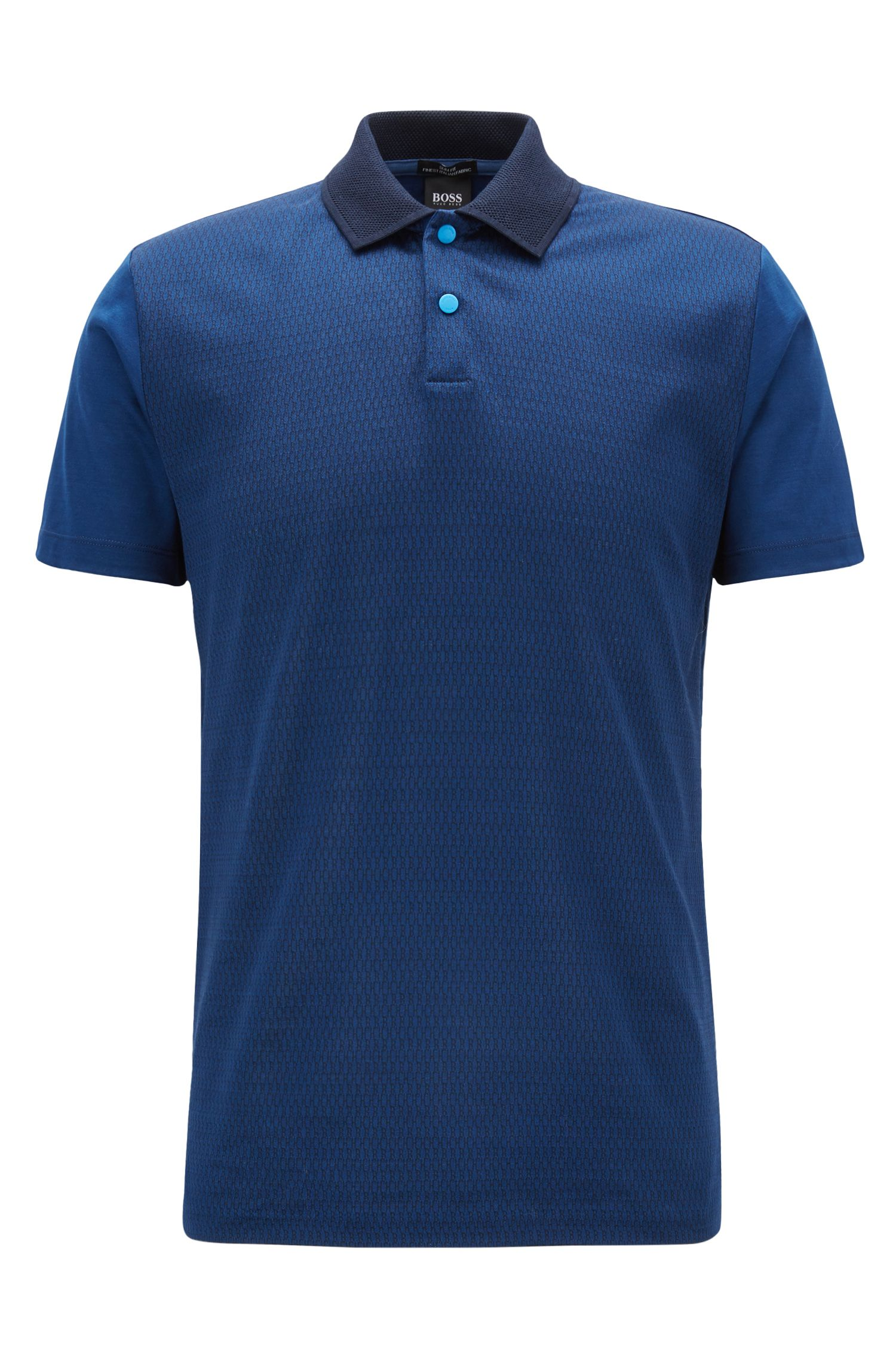 Slim-fit cotton polo shirt with monogram jacquard front, Open Blue