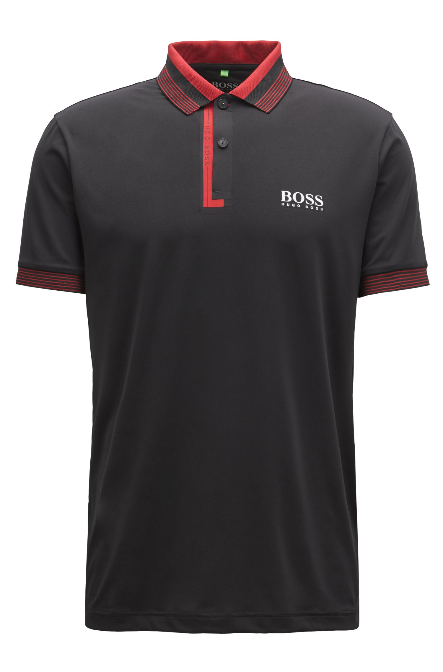 Regular-fit polo shirt with moisture management, Black