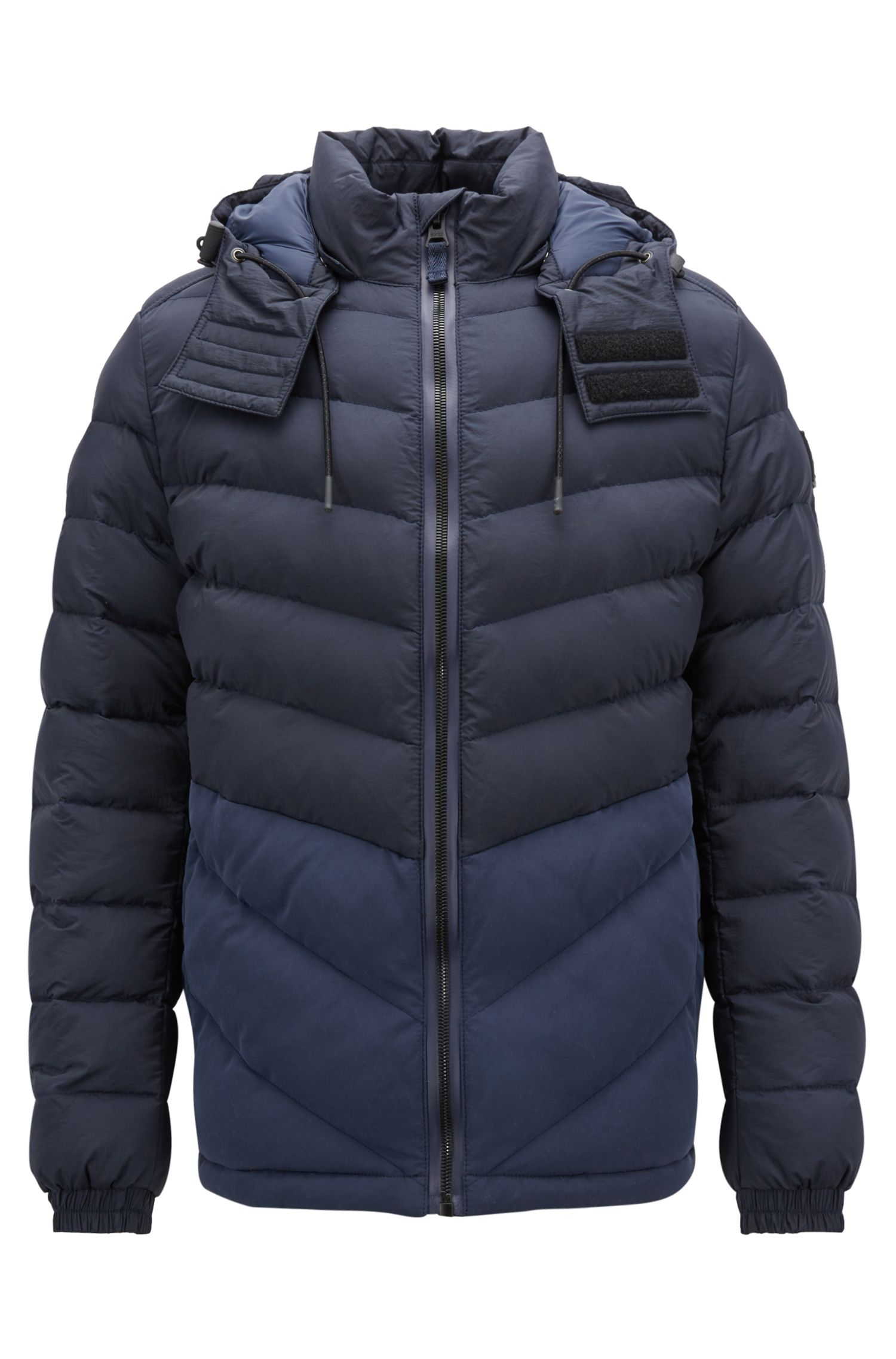 Padded jacket in water-repellent fabric with detachable hood, Dark Blue