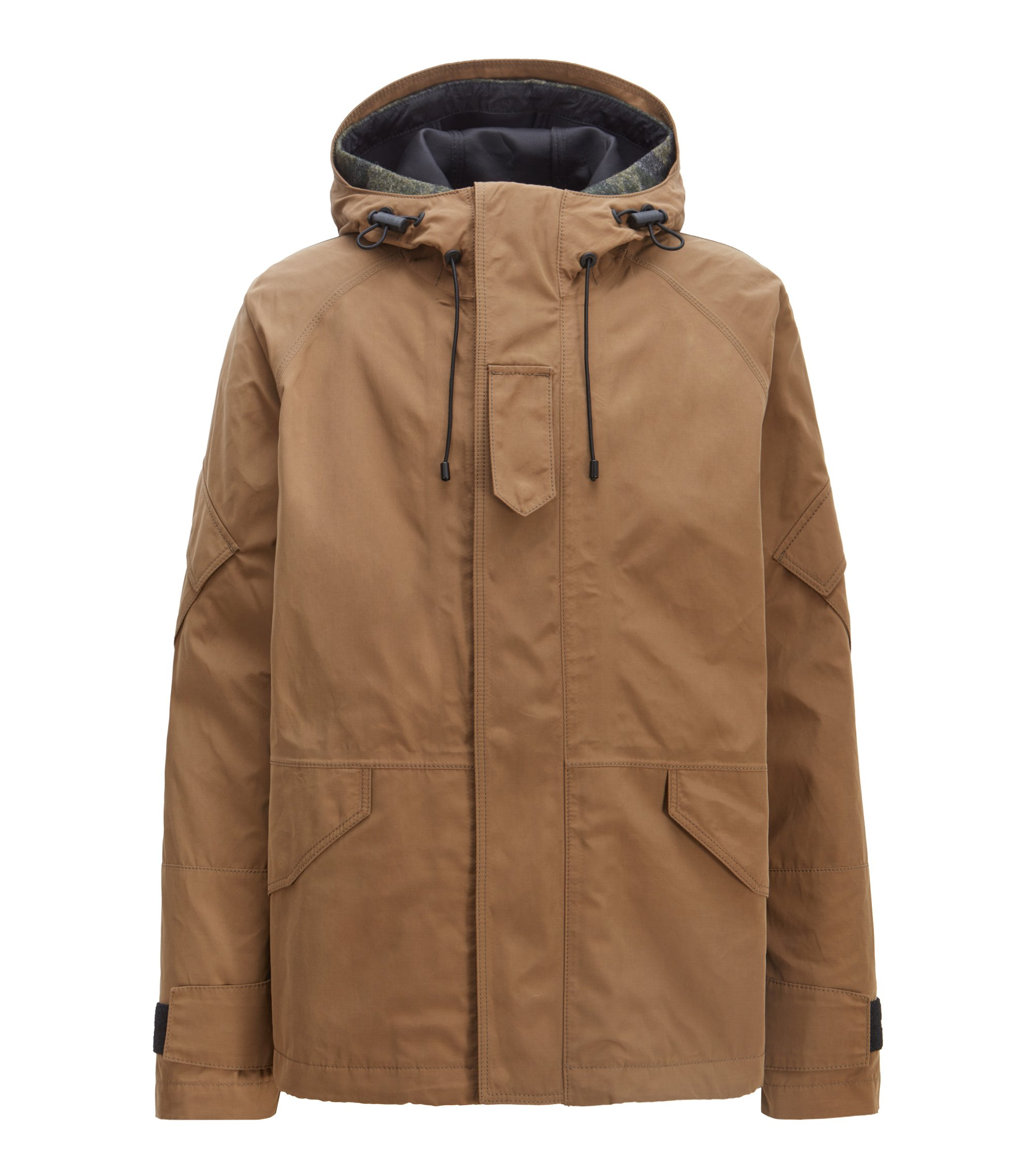 Two-in-one hooded parka in water-repellent waxed canvas, Open Beige
