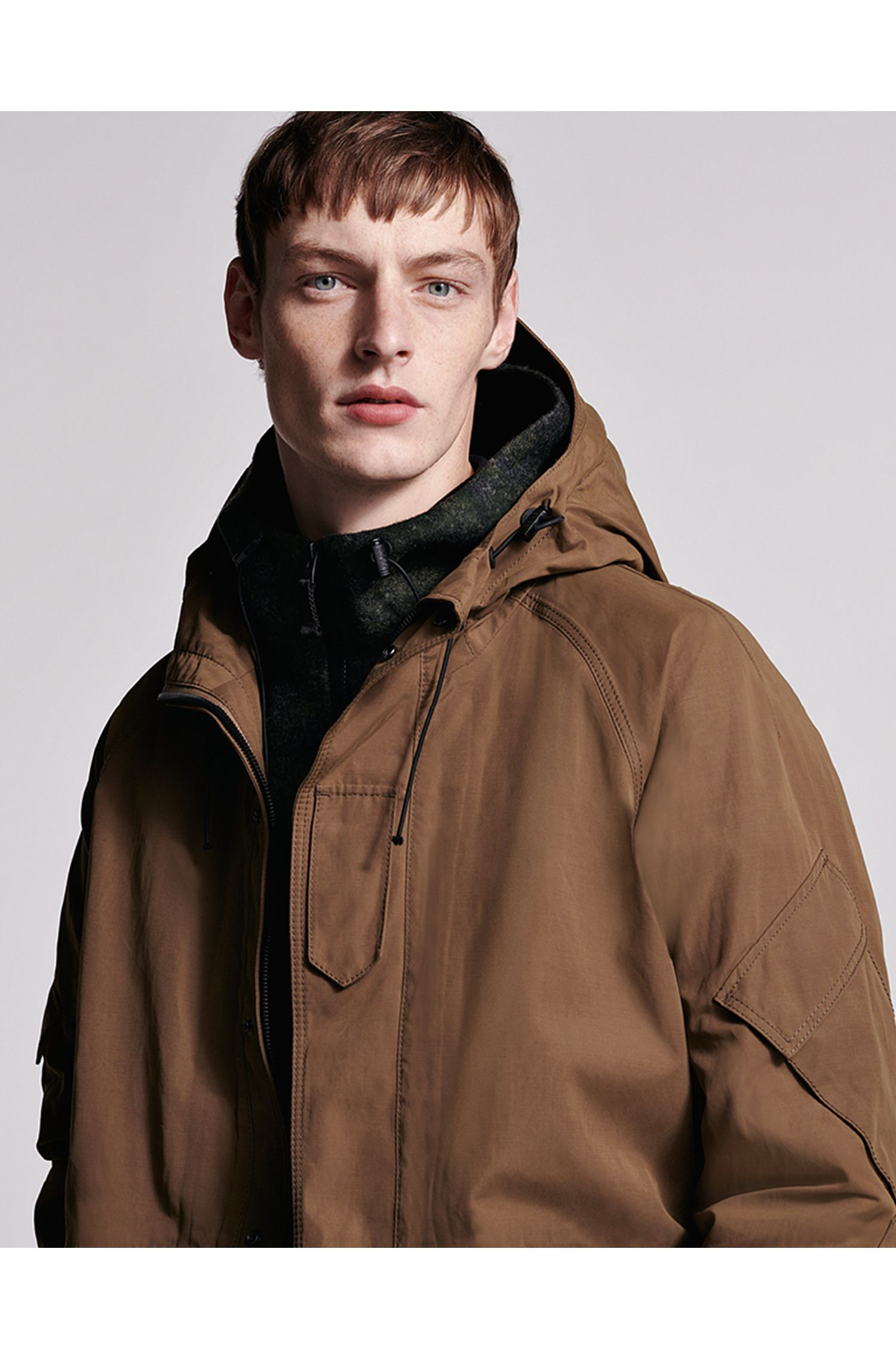 Three-in-one hooded parka in water-repellent waxed canvas, Open Beige