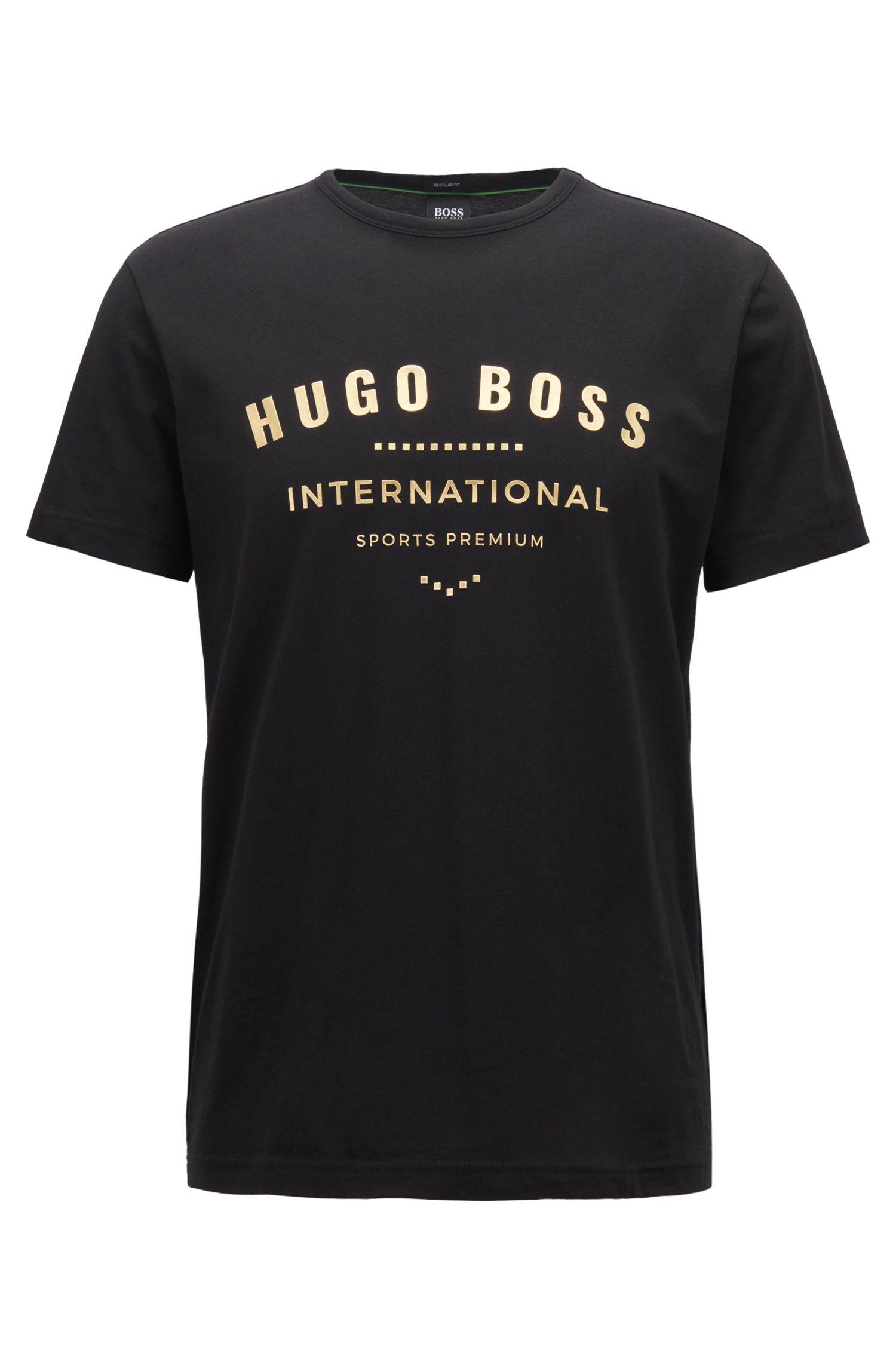 Crew-neck T-shirt in cotton with metallic artwork, Black