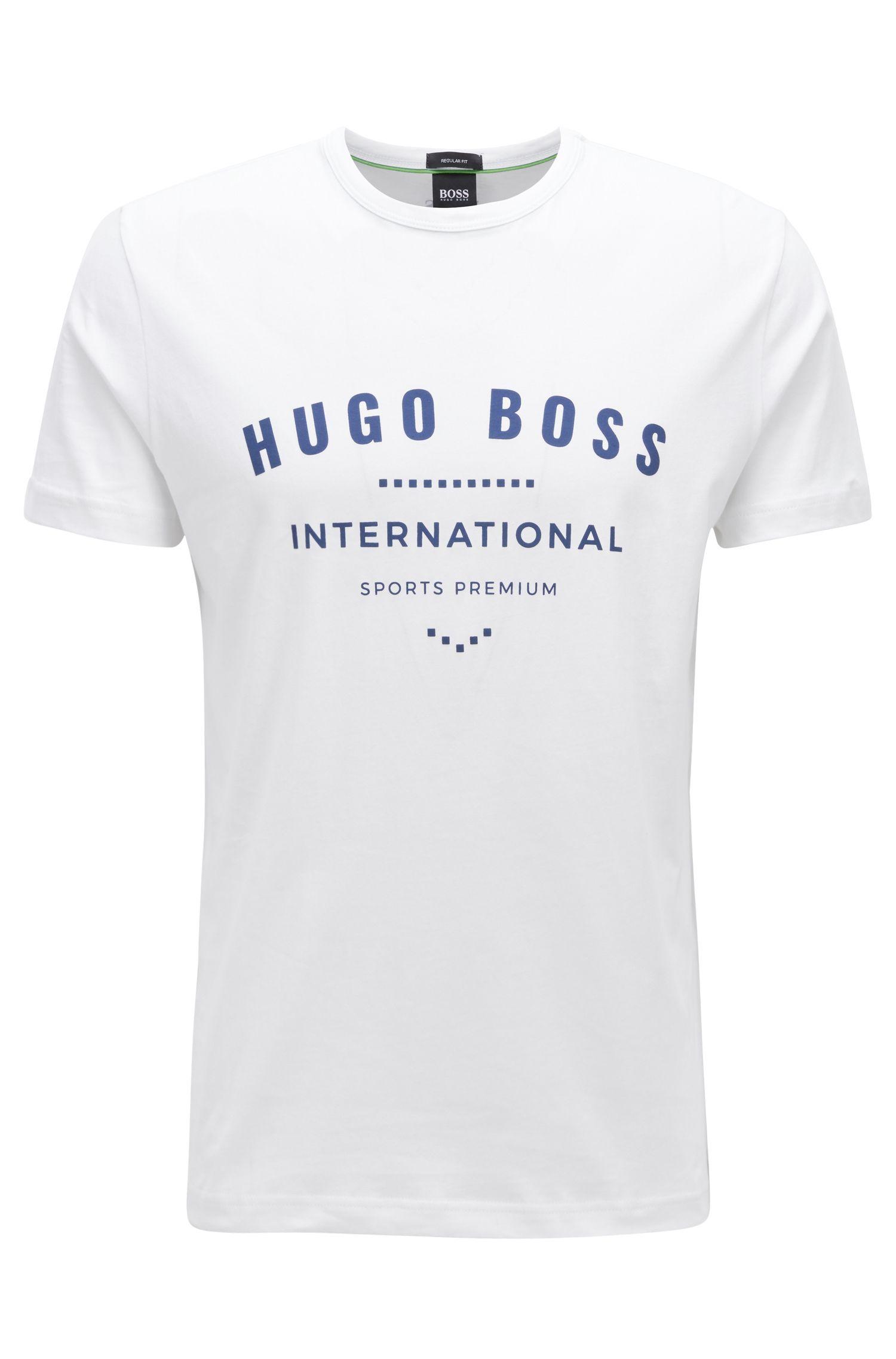 Crew-neck T-shirt in cotton with metallic artwork, White