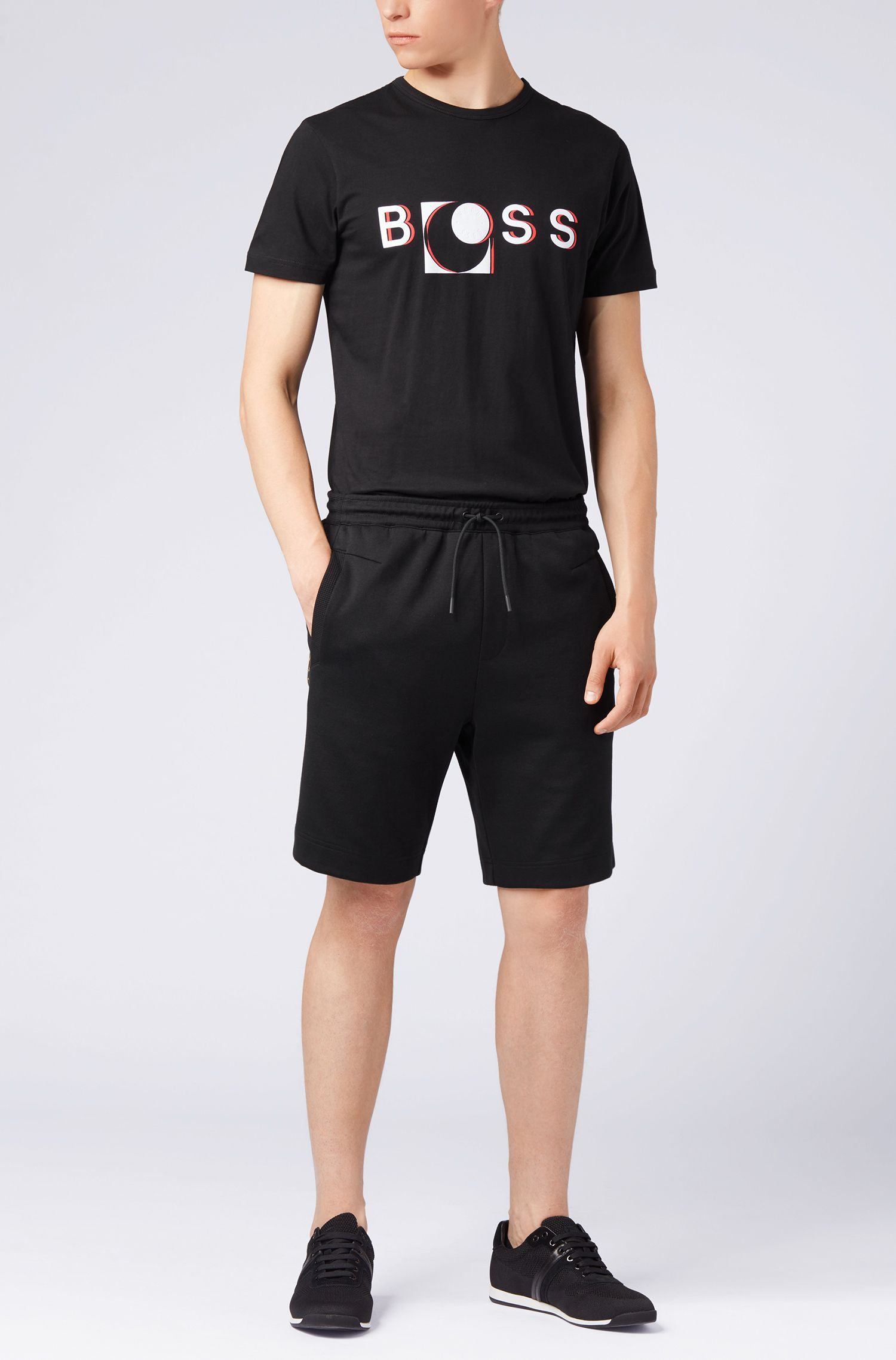 Short-sleeved T-shirt in cotton with printed logo artwork, Black