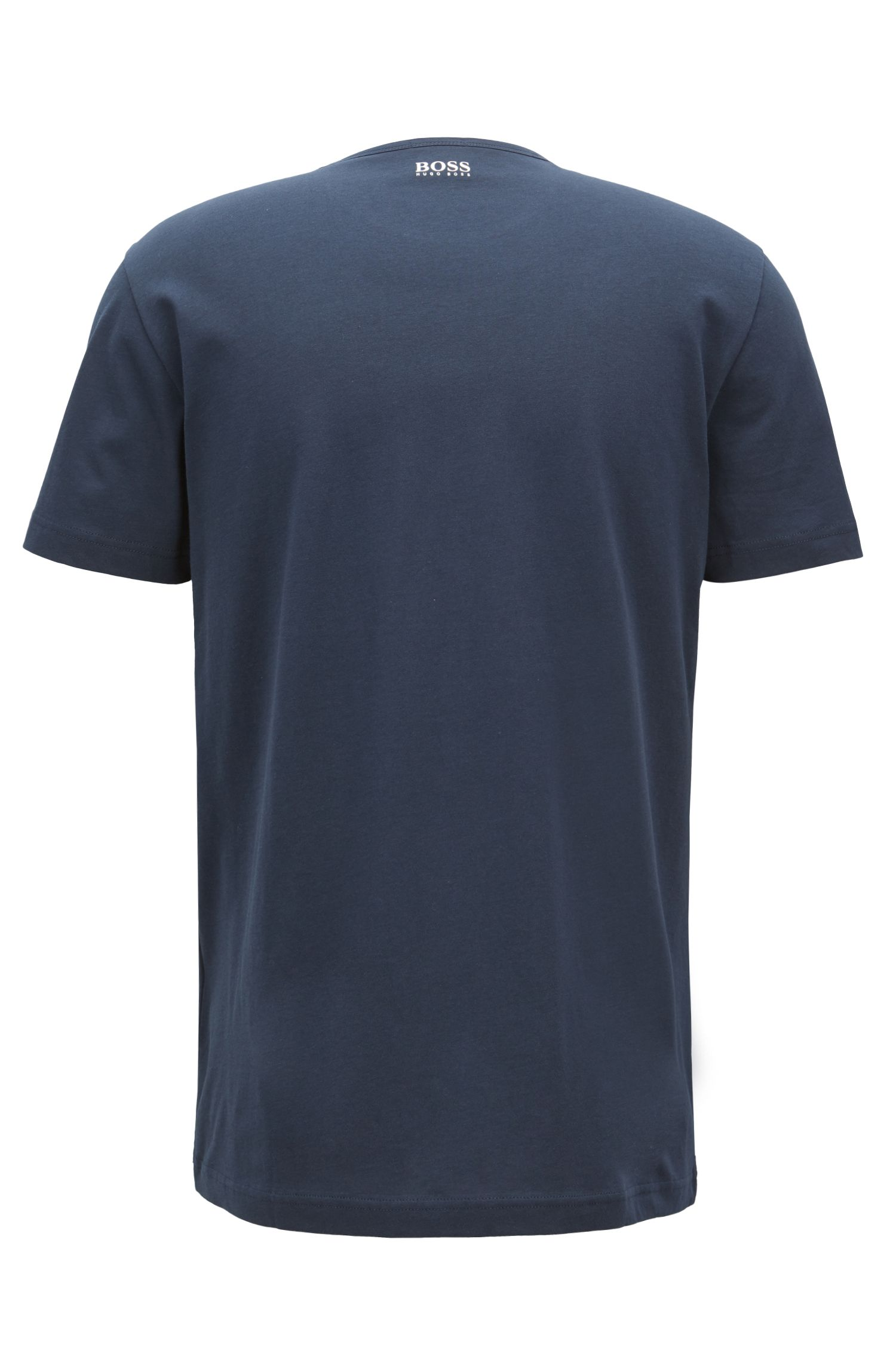 Short-sleeved T-shirt in cotton with printed logo artwork, Dark Blue