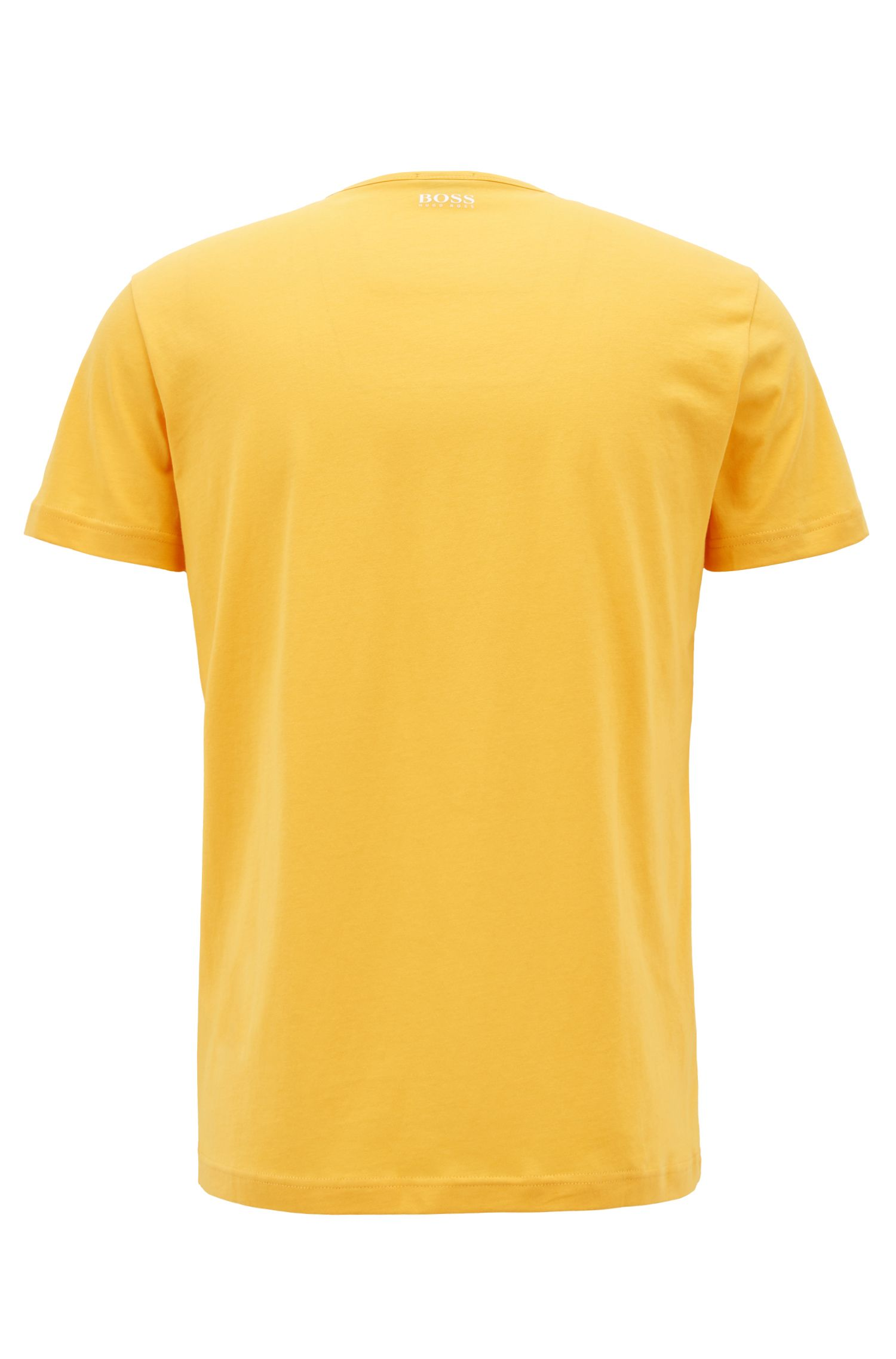 Short-sleeved T-shirt in cotton with printed logo artwork, Light Yellow
