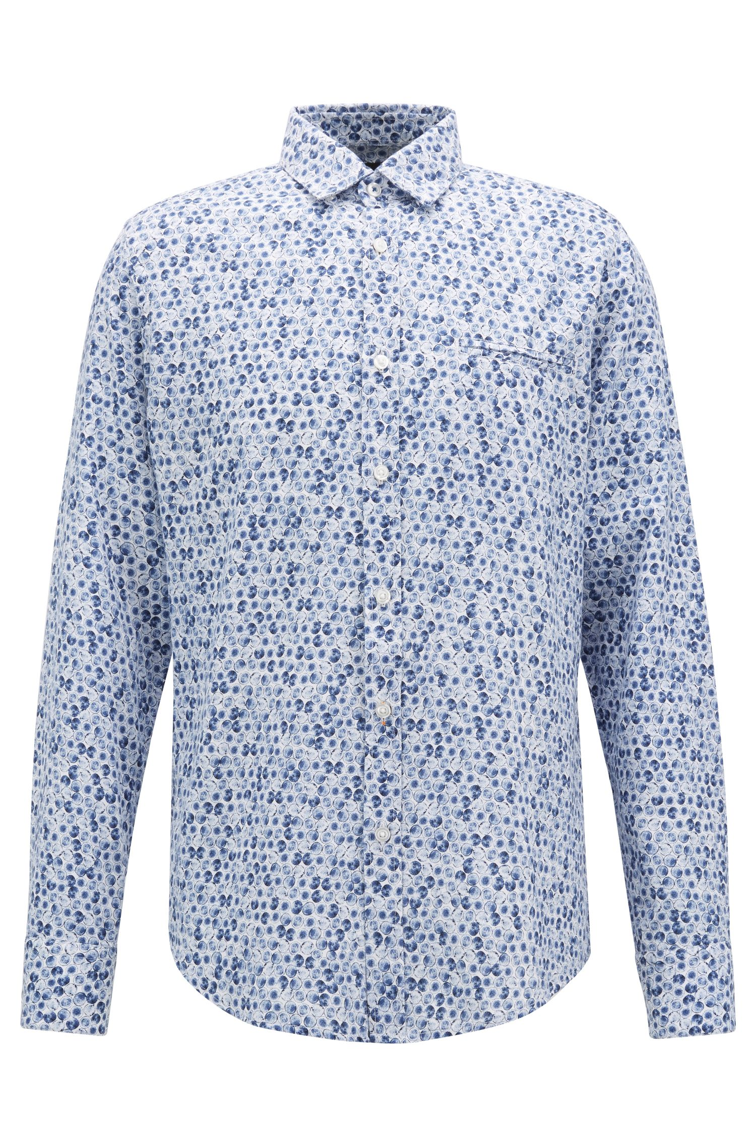 Regular-fit shirt in cotton with woodland-inspired print, Dark Blue